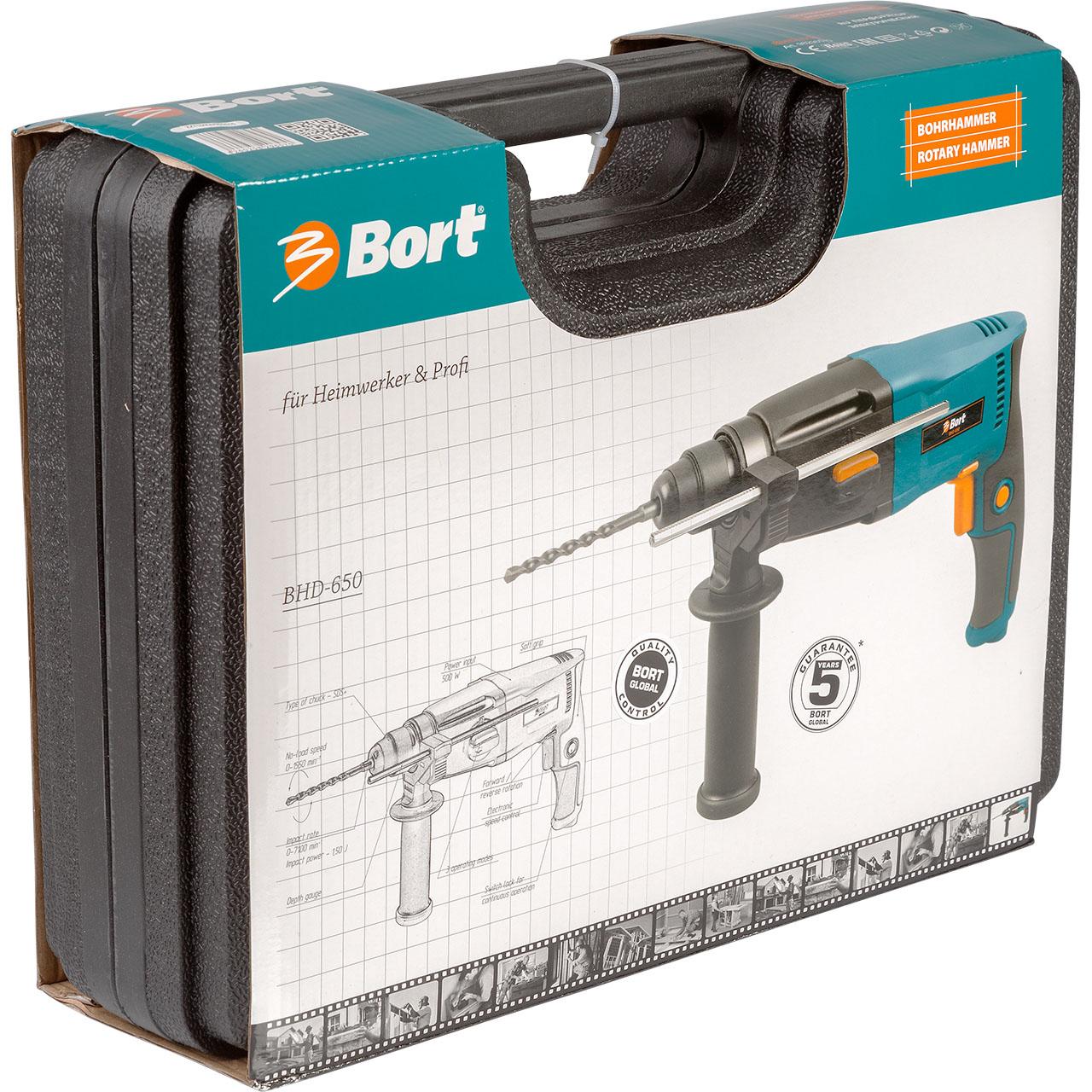 Перфоратор электрический Bort BHD-65098296570Перфоратор BORT BHD-650 - компактный инструмент для легких работ по камню, бетону. Вес этого перфоратора составляет всего 2,4кг. Это гораздо ниже, чем у многих его одноклассников. Благодаря малому весу этим перфоратором можно легко работать продолжительное время в сложных местах, например, потолочные и подобные работы. Высокая надежность перфоратора BORT BHD-650 обеспечивается мотором, обмотки которого пропитаны специальным компаундом. Инструмент поставляется в прочном кейсе, кроме того в комплекте идут 3 бура и сверлильный патрон с адаптером. Для дополнительного удобства предусмотрена фиксация долота в произвольном положении. Наличие 3-х режимов работ и реверса - редкость для таких легких перфораторов, которым является BHD-650. Предусмотрены сверление, сверление с ударом и легкие долбежные работы. Это настоящий лидер в классе легких перфораторов.