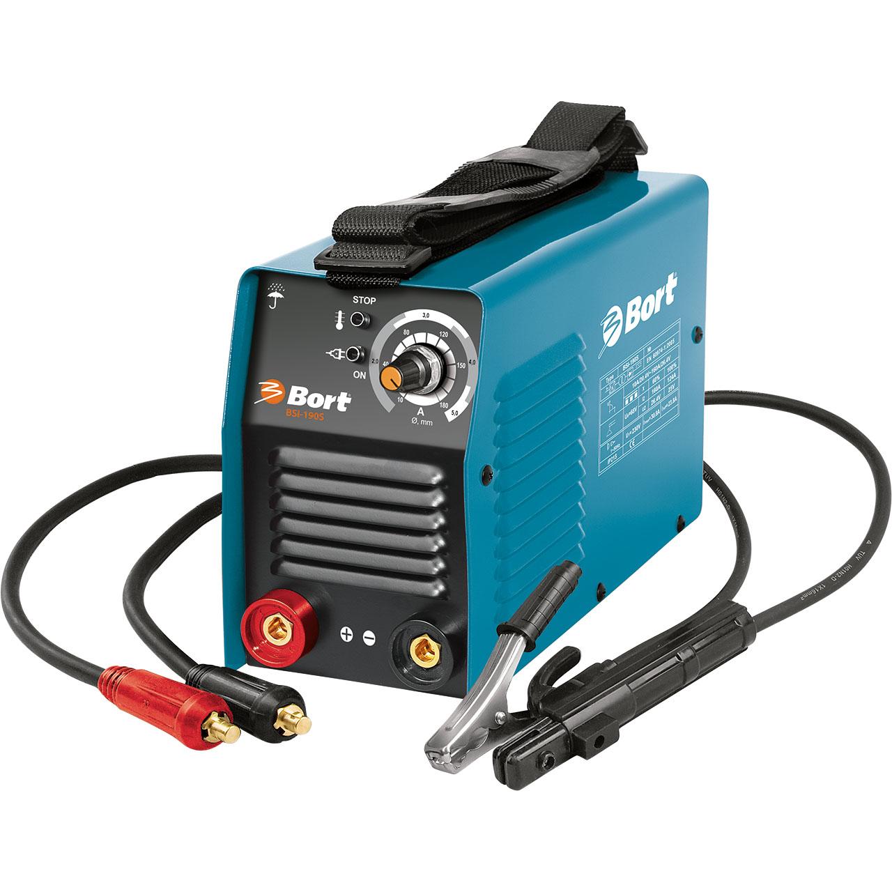 Сварочный аппарат инверторный Bort BSI-190S98297119Сварочный инверторный аппарат Bort BSI-190S - идеальный аппарат для электросварки. Малый вес, размеры, возможность легкой переноски - имеется ремень, - всё это делают этот инвертор одним из самых популярных не только при строительных и ремонтных работах, но и на даче, в гараже, небольших мастерских. Отличительной чертой сварочных инверторов Bort является их уникальная возможность работать при пониженном входном напряжении, а это очень частовстречается не только в отдаленных районах, но и на дачных массивах, гаражах. Сварочный инверторный аппарат Bort BSI-190S может работать при колебаниях напряжения от 160 до 260Вольт. Широкий диапазон регировки тока, защита от перегрева, автоматические функции регулирования и поддержания сварочной дуги делают этот аппарат одним из самых популярных.