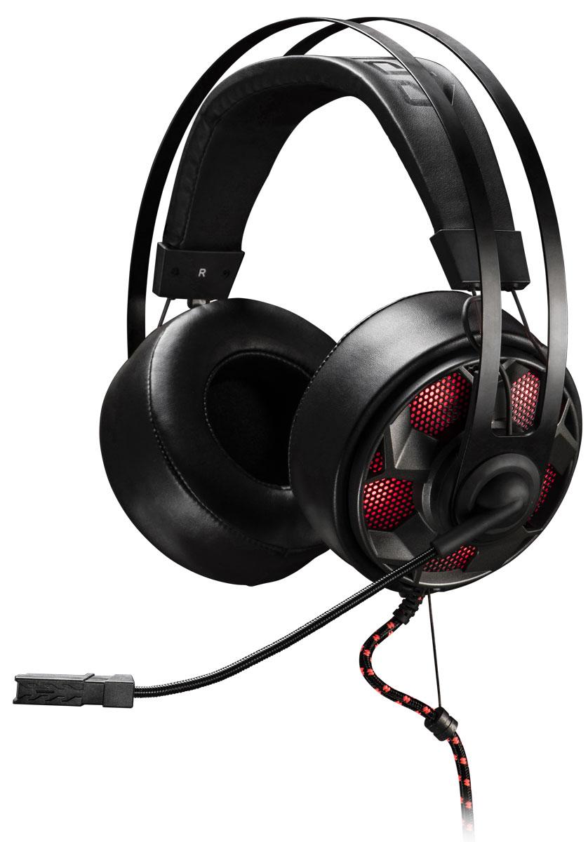 EpicGear ThunderouZ игровая гарнитураEGATZ1-2AWA-AMSGEpicGear ThunderouZ - гарнитура с полноценными накладными наушниками. Амбушюры выполнены из специального высококачественного кожзаменителя. Гарнитура предлагает пользователю отличное качество звука, шумоизоляцию, плотное и в то же время, мягкое прилегание к уху. Благодаря использованию специальных материалов, наушники запоминают форму уха пользователя, обеспечивая максимальный комфорт при эксплуатации. В чашечках наушников расположены 50-миллиметровые динамики. Гарнитура впервые оснащена усилителем EG–Amplifier (EG-AMP). Усилитель делает звучание чистым и насыщенным. Аудиосигнал передается на гарнитуру через аналоговый разъем 3,5 мм стерео джек. А питание EG-AMP осуществляется от USB порта. Мультифункциональный контроллер позволяет управлять всеми важными функциями микрофона и наушников. Переключатель режимов EQ позволяет выбирать между режимами Музыкальный EG или Игровой EQ. Высокая четкость передачи голоса достигается за счет применения ...