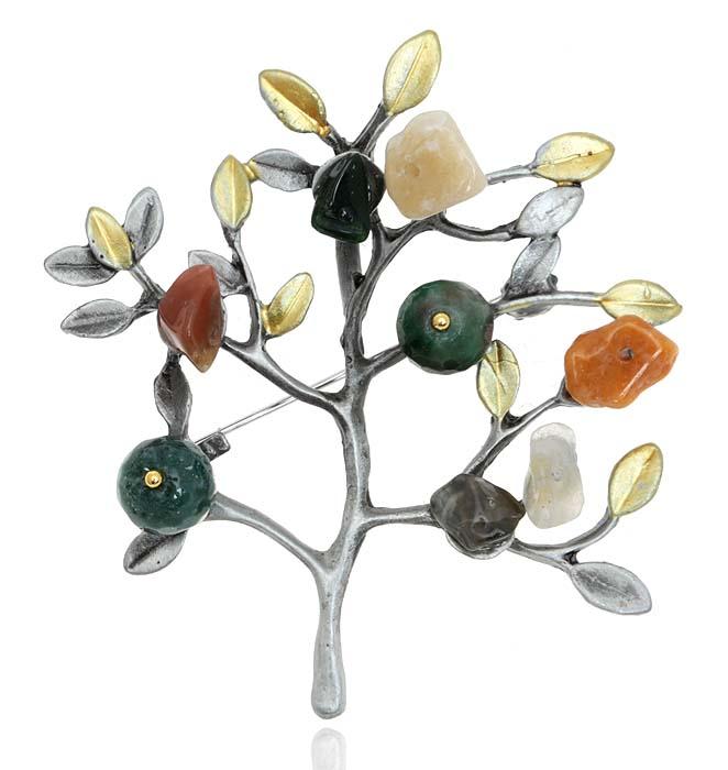 """Брошь-кулон """"Цветущий сад"""". Натуральный агат, гипоаллергенный ювелирный сплав. Lisa Lone, Испания"""