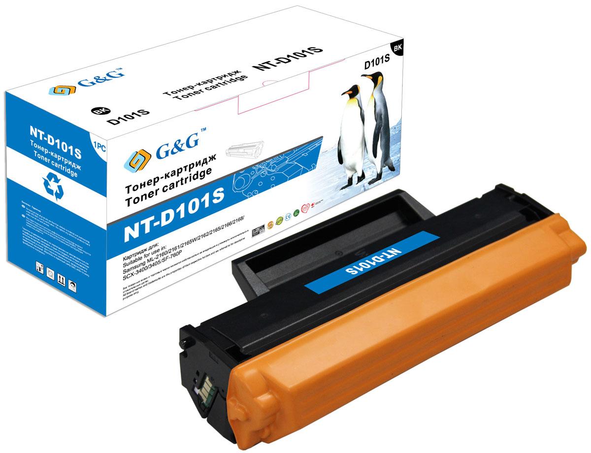 G&G NT-D101S тонер-картридж для Samsung ML-2160/2161/2162/2165/2166/2168/SCX-3400/3405NT-D101SТонер-картридж G&G NT-D101S для лазерных принтеров Samsung ML-2160/2161/2162/2165/2166/2168/SCX-3400/3405. Расходные материалы G&G для лазерной печати максимизируют характеристики принтера. Обеспечивают повышенную чёткость чёрного текста и плавность переходов оттенков серого цвета и полутонов, позволяют отображать мельчайшие детали изображения. Обеспечивают надежное качество печати.