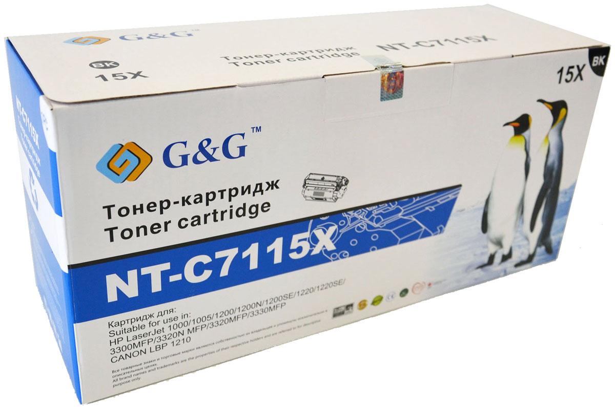G&G NT-C7115X тонер-картридж для HP LaserJet 1000/1005/1200/3300/3320/3330/Canon LBP-1210NT-C7115XКартридж G&G NT-C7115X для лазерных принтеров HP LaserJet 1000/1005/1200/3300/3320/3330, Canon LBP-1210. Расходные материалы G&G для лазерной печати максимизируют характеристики принтера. Обеспечивают повышенную чёткость чёрного текста и плавность переходов оттенков серого цвета и полутонов, позволяют отображать мельчайшие детали изображения. Обеспечивают надежное качество печати.