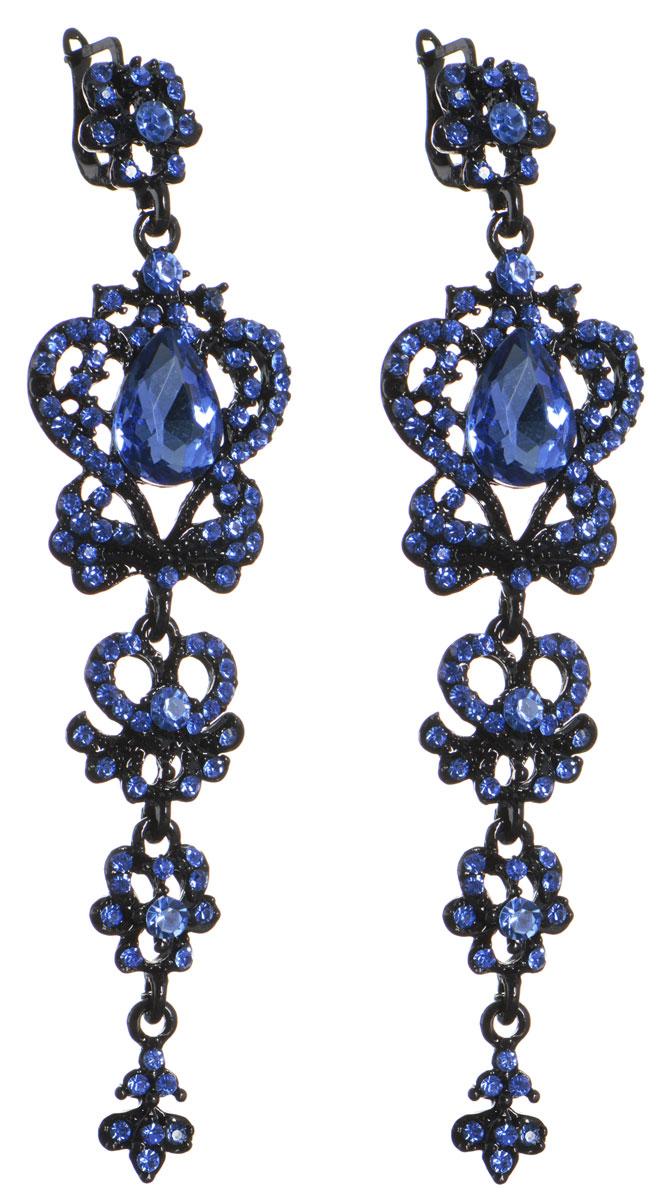 Серьги Infiniti, цвет: черный, синий. NOAJ0731NOAJ0731Роскошные серьги Infiniti изготовлены из гипоаллергенного ювелирного сплава, дополнены ажурными подвижными подвесками и инкрустированы стразами из ювелирного хрусталя. Каждая подвеска дополнена крупным кристаллом каплевидной формы. В качестве основания изделия используется английский замок, который надежно зафиксирует сережку. Изделие упаковано в подарочную коробку из плотного картона с логотипом бренда. Стильные серьги помогут дополнить любой образ и привнести в него завершающий яркий штрих.
