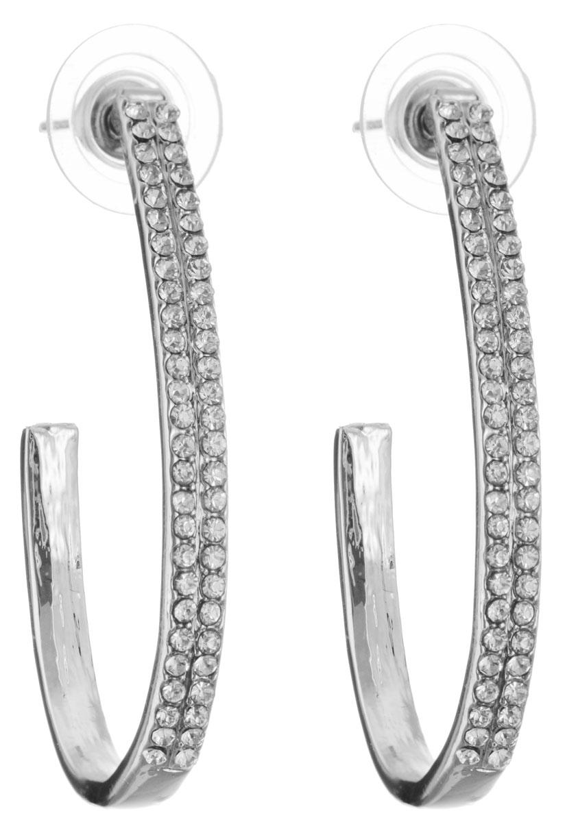 Серьги Happy Garnets, цвет: серебряный, белый. NOAE0140NOAE0140Элегантные серьги современного дизайна Happy Garnets изготовлены из гипоаллергенного ювелирного сплава, инкрустированы двумя рядами страз из ювелирного хрусталя. В качестве основания изделия используется замок-гвоздик с заглушкой, который надежно зафиксирует сережку. Изделие упаковано в подарочную коробку из плотного картона с логотипом фирмы. Стильные серьги помогут дополнить любой образ и привнести в него завершающий яркий штрих.