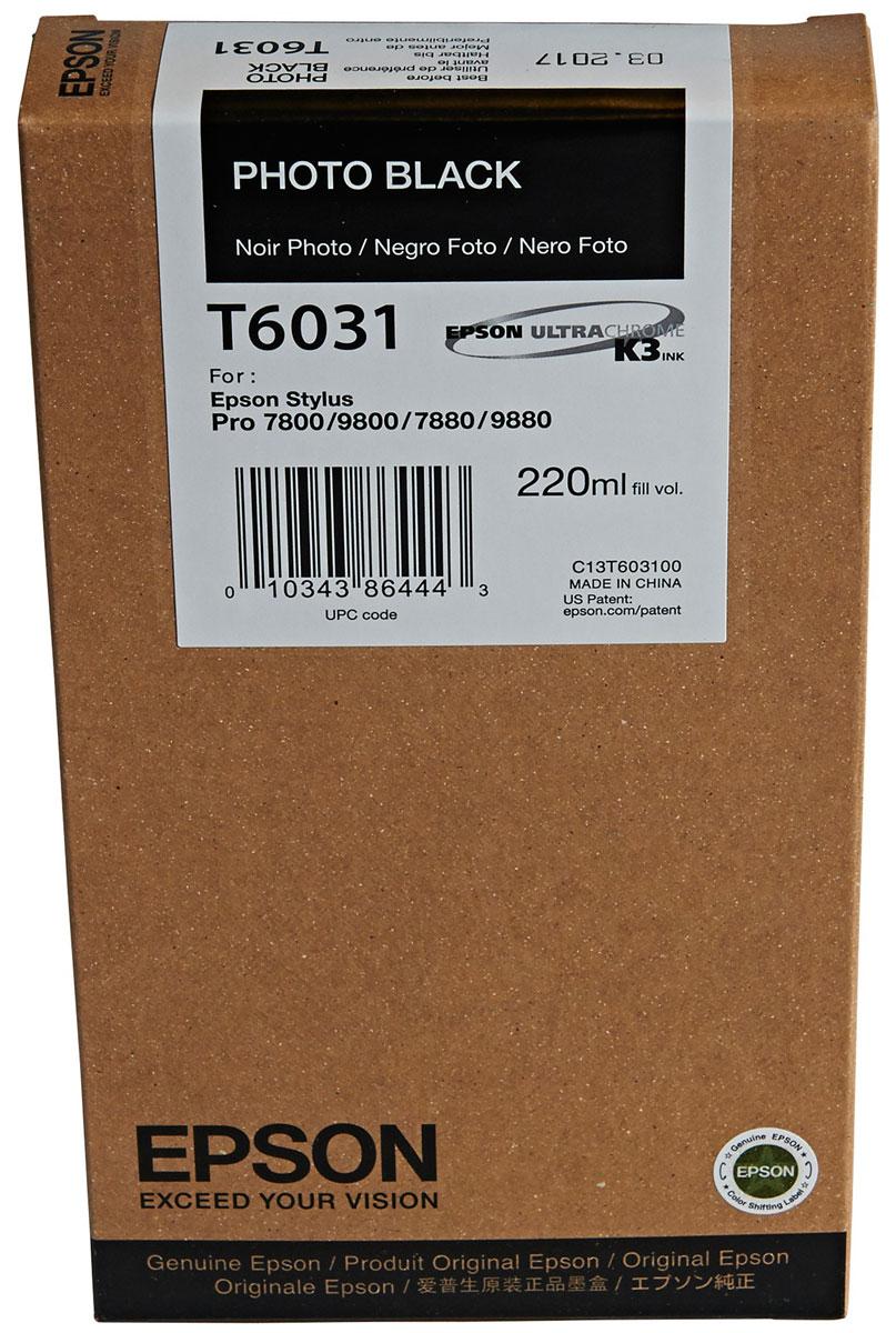 Epson T6031 (C13T603100), Photo Black картридж для Stylus PRO 7800/7880/9800/9880C13T603100Картридж Epson T6031 для струйных принтеров Epson Stylus PRO 7800/7880/9800/9880. Расходные материалы Epson для печати максимизируют характеристики принтера. Обеспечивают повышенную четкость изображения и плавность переходов оттенков и полутонов, позволяют отображать мельчайшие детали изображения. Обеспечивают надежное качество печати.