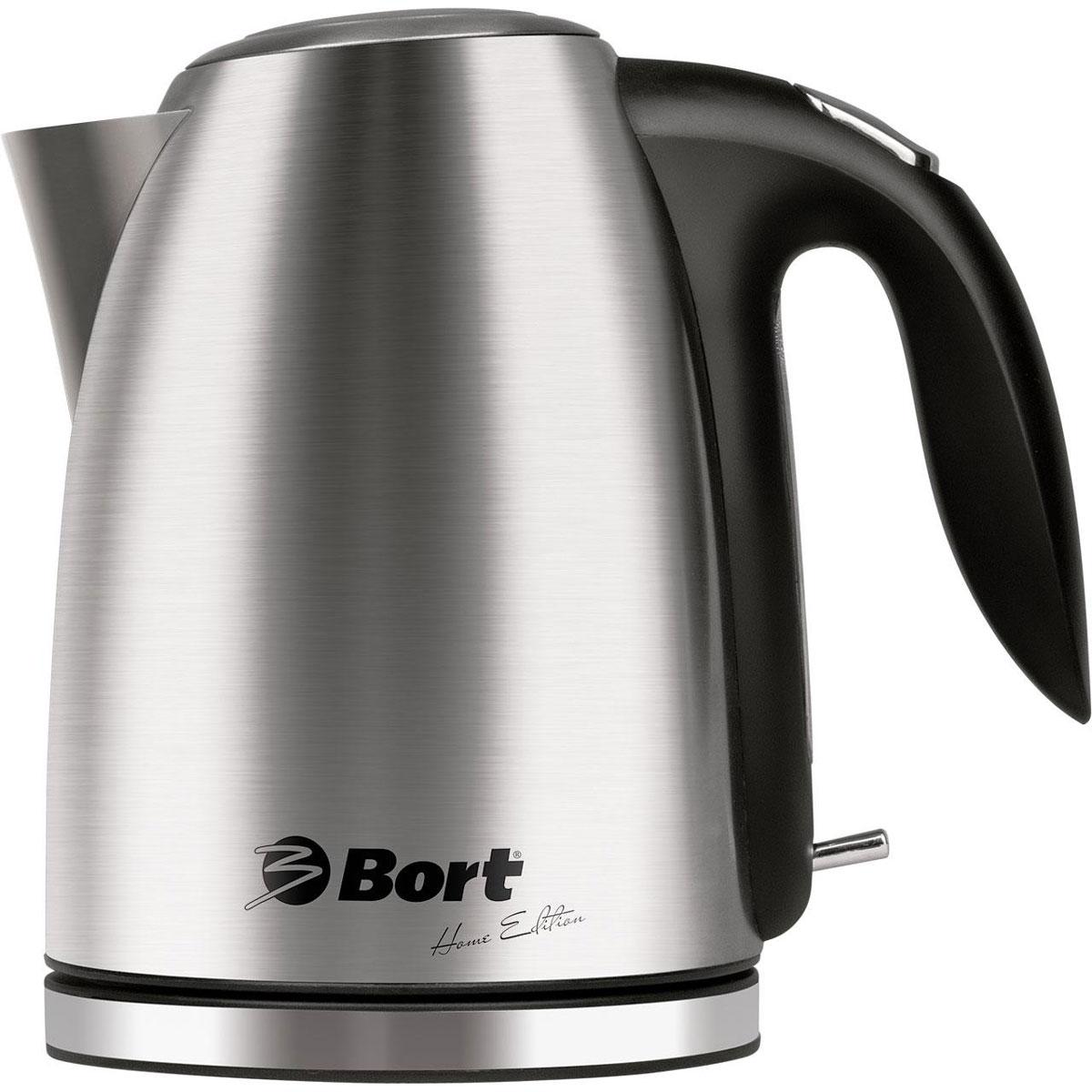 Bort BWK-2017M-L чайник электрический91276766Чайник Bort BWK-2017M-L, выполненный из нержавеющей стали, станет настоящим украшением кухни. Он отличается не только отличным внешним видом, но и высоким качеством герметизации и доработанным контроллером. Автоматическое отключение при закипании и предохранитель от включения без воды защитят вас от непредвиденных ситуаций. Мягкая LED подсветка и тщательно проработанный и удобный механизм открывания крышки, расположенный на ручке, являются приятными дополнениями к этому надежному чайнику. Кроме того для удобства пользования поворотное основание снабжено отсеком для хранения шнура.