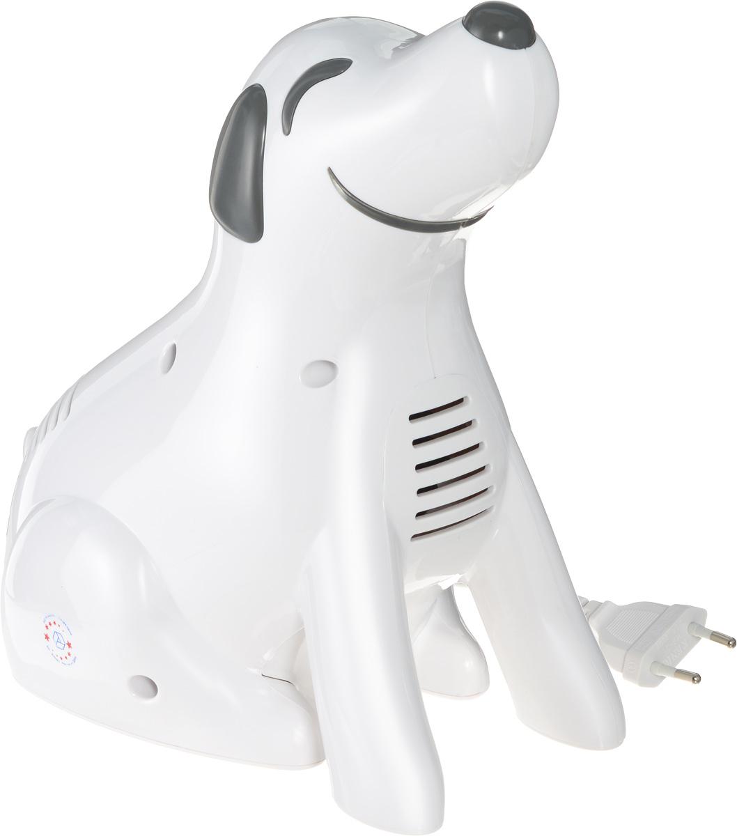Алмаз MCN-600D Doggy компрессорный ингаляторMCN-600D (Doggy)Алмаз MCN-600D Doggy - компрессорный ингалятор, который специально создавался, чтобы понравиться маленьким детям. Ингалятор состоит из пластмассового корпуса и распылительной камеры, соединенной с ним гибким шлангом. В корпусе установлен поршневой компрессор, который создает избыточное давление воздуха, подаваемого по гибкому шлангу в распылительную камеру. Конструктивно камера — это пластмассовая емкость для лекарства с устройством для его распыления потоком воздуха. Данная модель предназначена для профилактики и лечения различных заболеваний дыхательных путей с помощью ингаляций. Прибор создает мелкодисперсный аэрозоль из водорастворимых лекарственных препаратов для проведения ингаляций. Частицы аэрозоля имеют размер в среднем, 3 мкм, благодаря чему они достигают различных отделов дыхательных путей. Образование аэрозоля в ингаляторе происходит при прохождении потока воздуха под давлением, создаваемым компрессором, через камеру с лекарственным...