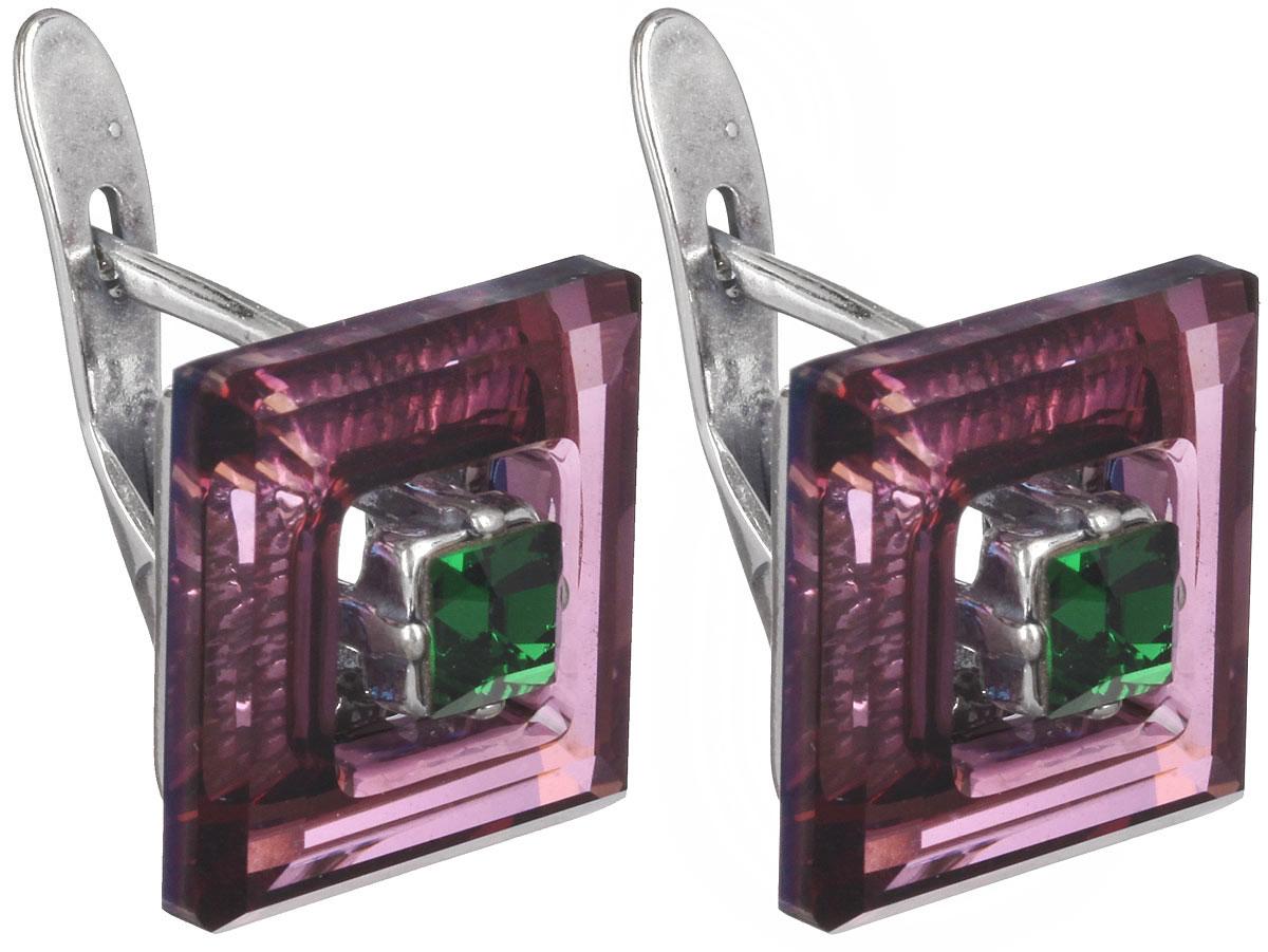 Серьги Jenavi Центариус, цвет: серебряный, фиолетовый, зеленый. b8283151b8283151Стильные серьги Jenavi Центариус в виде основы квадратной формы из ювелирного сплава, которая дополнена кристаллами Swarovski. В качестве основания используется классический английский замок, который надежно зафиксирует сережку. Оригинальные серьги Jenavi Центариус помогут дополнить любой образ и привнести в него завершающий яркий штрих.