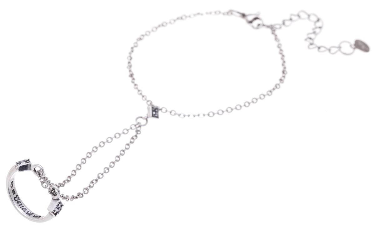 Jenavi, Коллекция Двойная игра, Илито (Кольцо-браслет), цвет - серебро, белый, размер 19f6293000Коллекция Двойная игра, Илито (Кольцо-браслет) гипоаллергенный ювелирный сплав,Черненое серебро, вставка Кристаллы Swarovski , цвет - серебро, белый, размер - 19