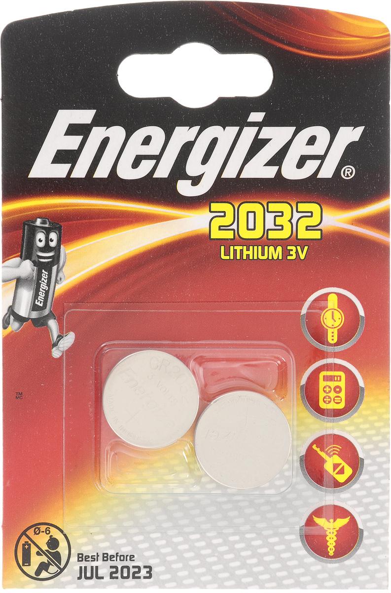Батарейка Energizer Lithium, тип CR2032, 3V, 2 шт637986/635803/628747Батарейка Energizer Lithium предназначена для электронных устройств. Устанавливается в электронные игры и игрушки, устройства личной гигиены, калькуляторы, электронные ежедневники и книги, системы бесключевого доступа, системы открывания гаражных ворот, цифровые термометры, тонометры и бытовые медицинские приборы.