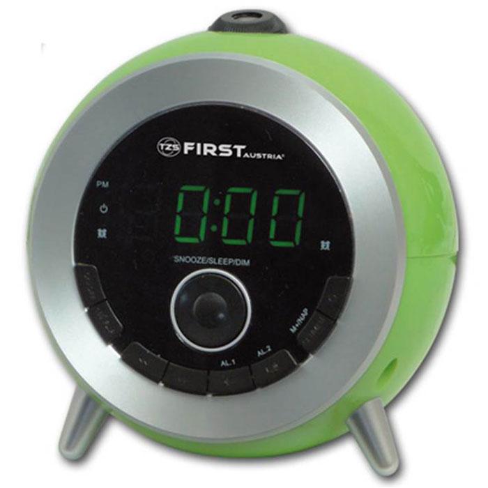 First FA-2421-6, Green радиочасыFA-2421-6 GreenFirst FA-2421-6 - стильные радиочасы с проектором. Модель оснащена удобным цифровым дисплеем 0.6 с двумя цветами индикации и возможностью регулирования яркости подсветки. Имеется также функция установки повтора сигнала, сразу двух будильников или будильника на выходные дни.