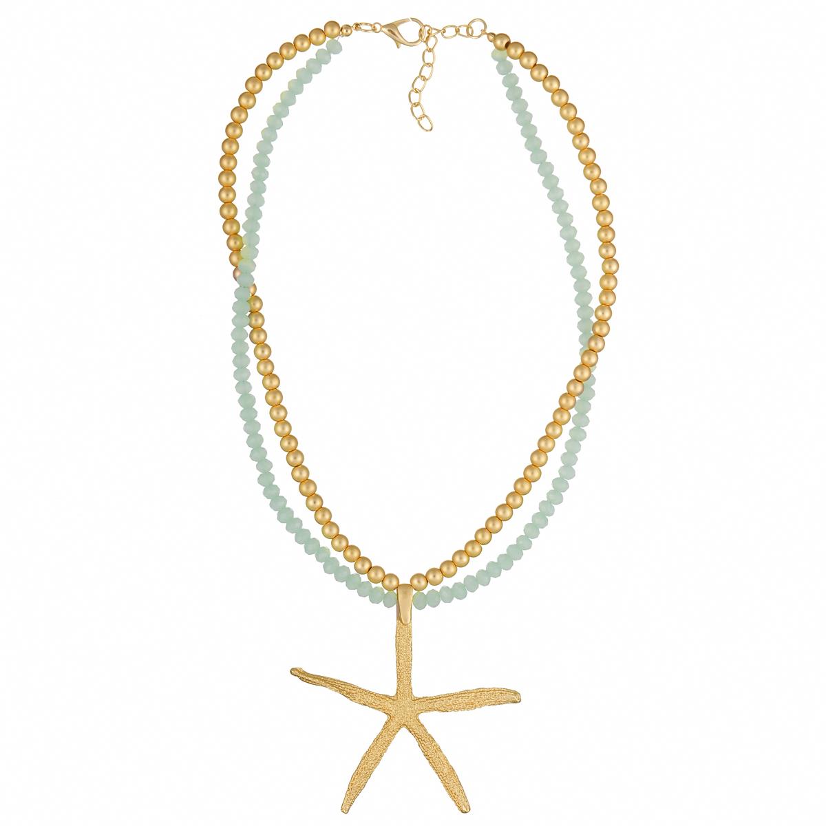 Ожерелье Модные истории, цвет: золотистый, мятный. 12/096912-0969Оригинальное ожерелье Модные истории выполнено в виде двух рядов бус. Ожерелье дополнено подвеской из металла в виде морской звезды. Изделие застегивается на замок-карабин с регулирующей длину цепочкой. Ожерелье модного дизайна поможет создать уникальный и запоминающийся образ, а также подчеркнет вашу индивидуальность.