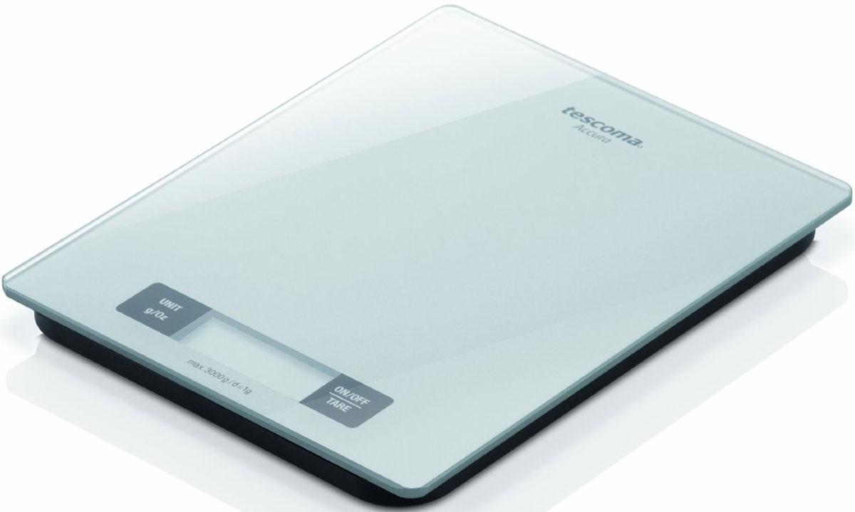 Tescoma Accura весы кухонные634544Весы Tescoma Accura отлично подходят для взвешивания продуктов весом до 3 кг, с точностью до 1 г. Ровная стеклянная поверхность для взвешивания. Простые в обслуживании. Есть возможность взвешивания в граммах и унциях. Предназначены для домашнего использования.