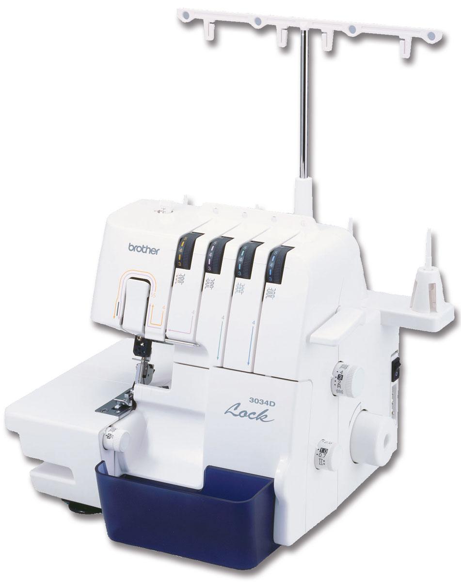 Brother 3034D оверлок3034DМашина-оверлок Brother 3034D предназначена для одновременного обметывания и обрезки срезов. Данная модель выполняет 3-х или 4-ниточные краеобметочные строчки с одновременной обрезкой края и оборудована нитенаправителями для простой заправки нити и системой быстрой заправки нижнего петлителя F.A.S.T. Она также имеет универсальную платформу, которую можно преобразовать в цилиндрическую при обработке манжет и рукавов, что экономит время и обеспечивает профессиональное качество результатов. Устройство легко настраивается и удобно в использовании. Brother 3034D можно рекомендовать для домашнего использования или работы в небольшом ателье. Уменьшенная масса устройства связана с тем, что внутри его содержится не металлический моноблок, а рама с прикрепленными к ней механизмами. В модели также предусмотрен отсек для аксессуаров.