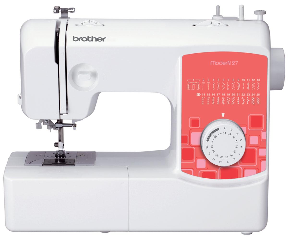 Brother ModerN 27 швейная машинаModerN27Швейная машина Brother ModerN 27 - это минимум трат электроэнергии при впечатляющем функционале. Забудьте о пришивании пуговиц вручную: установите лапку для пришивания пуговиц, и Brother ModerN 27 самостоятельно наметает их на вашу одежду. С лапкой для вшивания молнии вы самостоятельно сможете быстро и аккуратно заменить сломавшуюся застежку на новую. С электронным стабилизатором усилия прокола рабочая игла этой швейной машины прострочит даже самую плотную ткань. Отрегулируйте скорость шитья плавно, сильнее или слабее нажимая на ножную педаль. Ножницы, пуговицы и нитки можно хранить в специальном отсеке, встроенном в корпус.