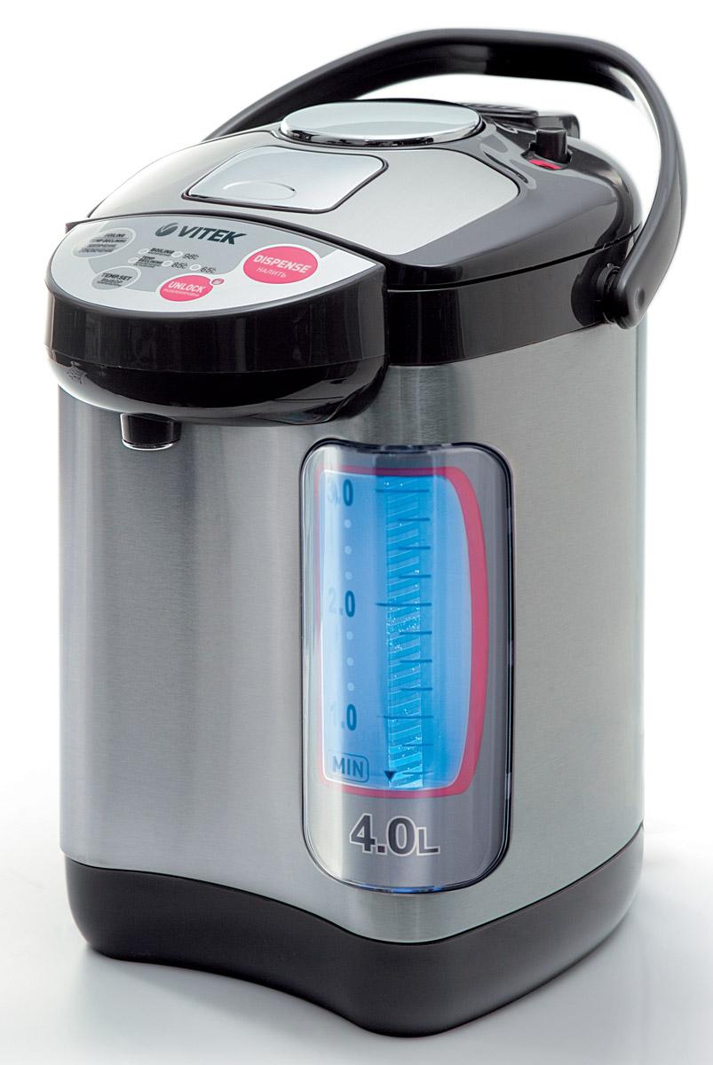 Vitek VT-1188, Grey1188-VT-01Термопот Vitek 1188 представляет собой гибрид электрического чайника и термоса с одноименными функциями. К тому же, с его помощью можно поддерживать воду в горячем состоянии на протяжении длительного периода времени. Расположенный на корпусе терморегулятор позволяет менять тип нагрева воды. Максимальный объем составляет 4 литра, что для средней потребительской семьи вполне хватает. Управление электронное, оно очень удобно при использовании устройства. Индикатор покажет, какое количество воды находится в приборе. Термопот Vitek 1188 имеет функцию повторного кипячения. Нагревательный элемент в виде спирали, которая надежно закрыта, что облегчает чистку. Мощность средняя - 750 Ватт позволит значительно сэкономить электроэнергию. Подача воды возможно ручным методом либо автоматически.