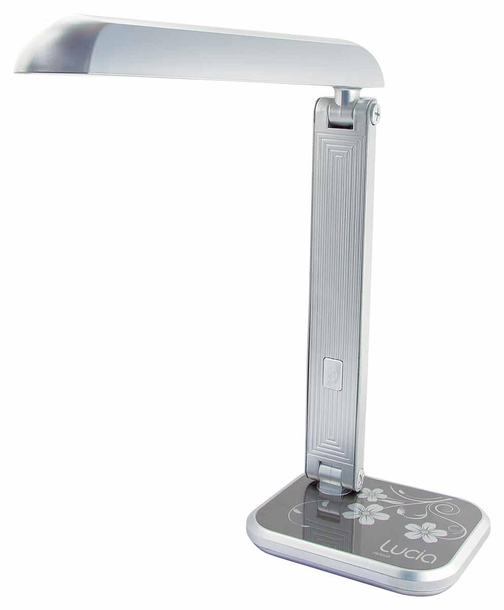 Настольная лампа Лючия Кватро, цвет: серый, 11 WЛЮЧИЯ 471серебристаяЛампа настольная ЛЮЧИЯ 471 Кватро 11W G23 серебристая Назначение: для местного освещения рабочего места. Количество ламп - 1. Лампа в комплекте :да. Тип патрона: G23. Мощность лампы: 11W. Аналог лампы накаливания мощностью 60 Ватт Свет: яркий, холодный белый 4500-5000K. Тип лампы: люминисцентная, энергосберегающая. Напряжение:220Вольт. Стиль: хай-тек. Диммер: нет. Цвет арматуры: серебро. Высота светильника: 400мм. Страна изготовитель:Китай.