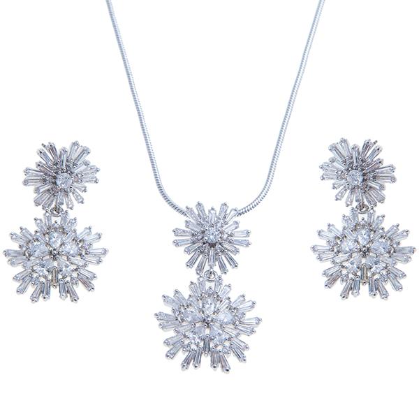 Комплект 2-х пр. жен. Selena Diamond, цвет: белый. 1008210210082102Циркон. Гальваническое покрытие: родий.