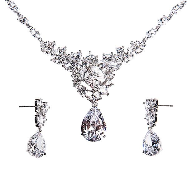 Комплект 2-х пр. жен. Selena Diamond, цвет: белый. 1008971210089712Циркон. Гальваническое покрытие: родий.