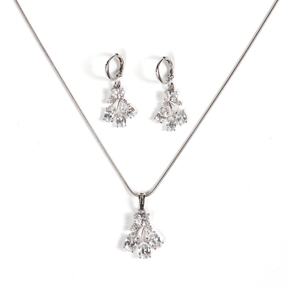 Комплект 2-х пр. жен. Selena Diamond, цвет: белый, серый. 1009751210097512Циркон. Гальваническое покрытие: родий.