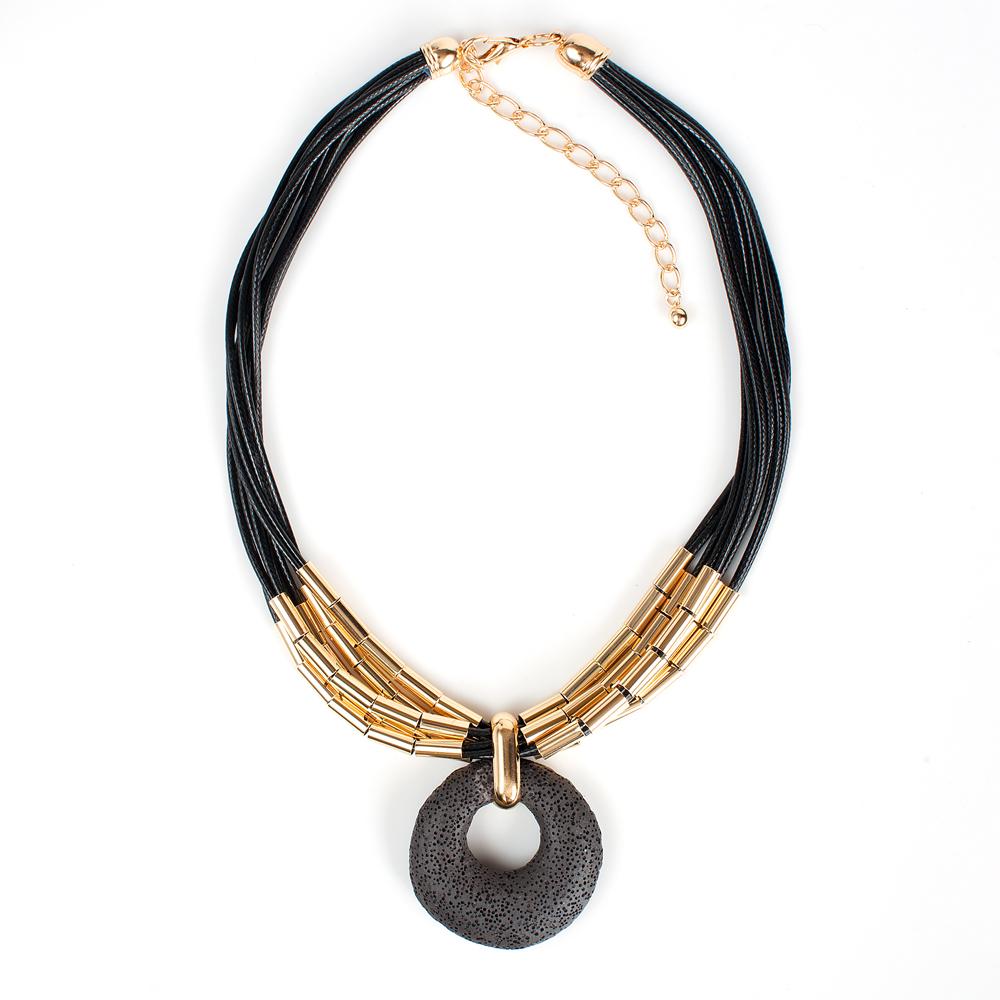 Колье жен. Selena Street Fashion, цвет: золотистый, черный. 1010000110100001Вулканическая лава, текстиль. Гальваническое покрытие: золото.