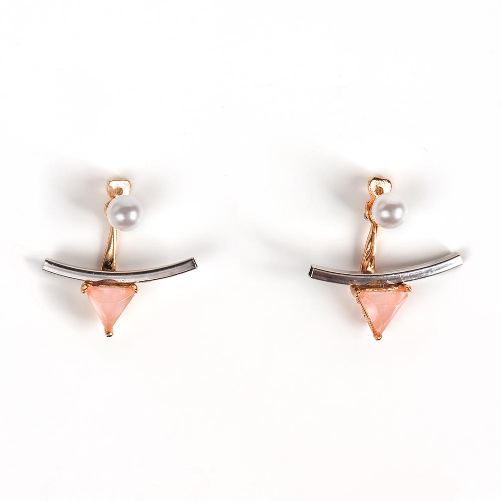 Серьги жен. Selena Street Fashion, цвет: белый, золотистый, розовый. 2008924020089240Кристаллы Preciosa, искусственный жемчуг. Гальваническое покрытие: золото, родий.