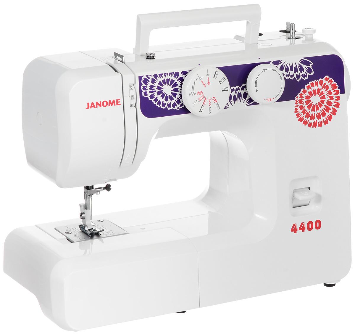 Janome 4400 швейная машинаJanome4400Janome 4400 - это простая высококачественная швейная машина с оригинальным дизайном и 15 операциями. Она легко прошивает тонкие и средние материалы. Данная модель поможет вам в освоении швейных машинок, если вы никогда ими не пользовались. Машина может выполнять большое количество строчек: оверлочную, потайную, эластичную, эластичную потайную. Максимальная скорость с которой может работать Janome 4400 - 600 ст/мин. Закрепить строчку можно будет с помощью кнопки реверса: при включении этого режима шитье пойдет в обратном направлении. Также машина может измерять размер пуговиц и шить двойной иглой.