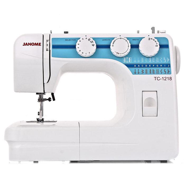 Janome TC 1218 швейная машинаTC1218Janome TC 1218 - швейная машина для шитья и ремонта одежды. Она оборудована надежным вертикальным качающимся челноком, применяемым в бытовых швейных машинах уже многие десятилетия. Модель позволяет выметывать прямые бельевые петли за 4 шага без поворота ткани - после выполнения каждой стороны петли нужно переключить программу на следующую сторону. Среди строчек, которые доступны в данной модели, имеется зигзаг с разной плотностью стежков, эластичная, оверлочная, потайная подгибка, стрейчевая для трикотажа, а также несколько декоративных строчек (фестон, соты). Кроме того, машинка выполняет усиленную (тройную) прямую строчку, по виду напоминающую цепочку. Она также укомплектована тремя лапками: для втачивания молнии, выметывания петли и потайной подгибки. Установить желаемую строчку можно с помощью поворота колеса, расположенного на корпусе машинки. Благодаря опции отключения нижнего транспортера ткани можно штопать или вышивать в свободной технике....