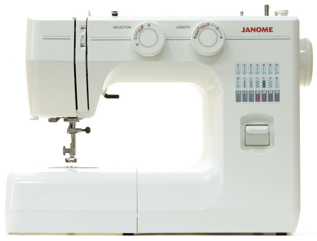 Janome TM 2004 швейная машинаTM2004Швейная машина Janome TM 2004 может выполнять 3 операции и производить 3 вида строчек – прямую, эластичную, используемую для трикотажа, и оверлочную. Стежки, выполняемые данной моделью, имеют максимальную длину 4 мм и ширину 5 мм. Челнок является вертикальным качающимся, что значимо для многих пользователей. Также эта швейная машина имеет операцию выметывания петель полуавтоматом, которая проходит в 4 этапа переключения. Janome TM 2004 обладает регулятором давления лапки на ткань, а также рукавной платформой. Улучшит использование модели яркая подсветка, осуществляемое лампой накаливания. Корпус модели выполнен из пластика, а тип работы является электромеханическим.
