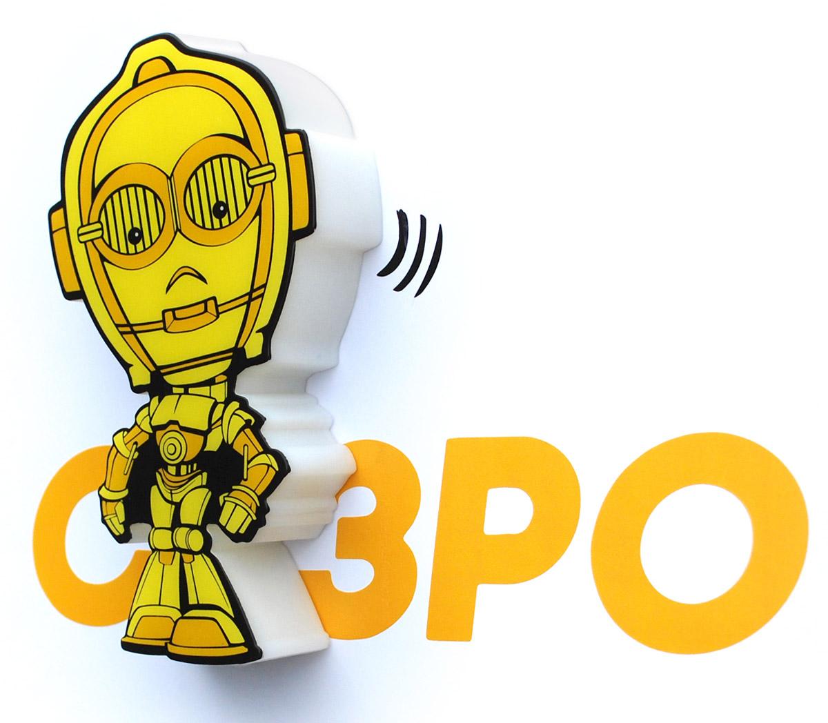 Star Wars Пробивной 3D мини-светильник C-3PO50011120Безопасный: без проводов, работает от батареек (2хААА, не входят в комплект); Не нагревается: всегда можно дотронуться до изделия; Реалистичный:3D наклейка в комплекте; Фантастический: выглядит превосходно в любое время суток; Удобный: простая установка (автоматическое выключение через полчаса непрерывной работы). Товар предназначен для детей старше 3 лет. ВНИМАНИЕ! Содержит мелкие детали, использовать под непосредственным наблюдением взрослых. Страна происхождения: Китай. Дизайн и разработка: Канада.