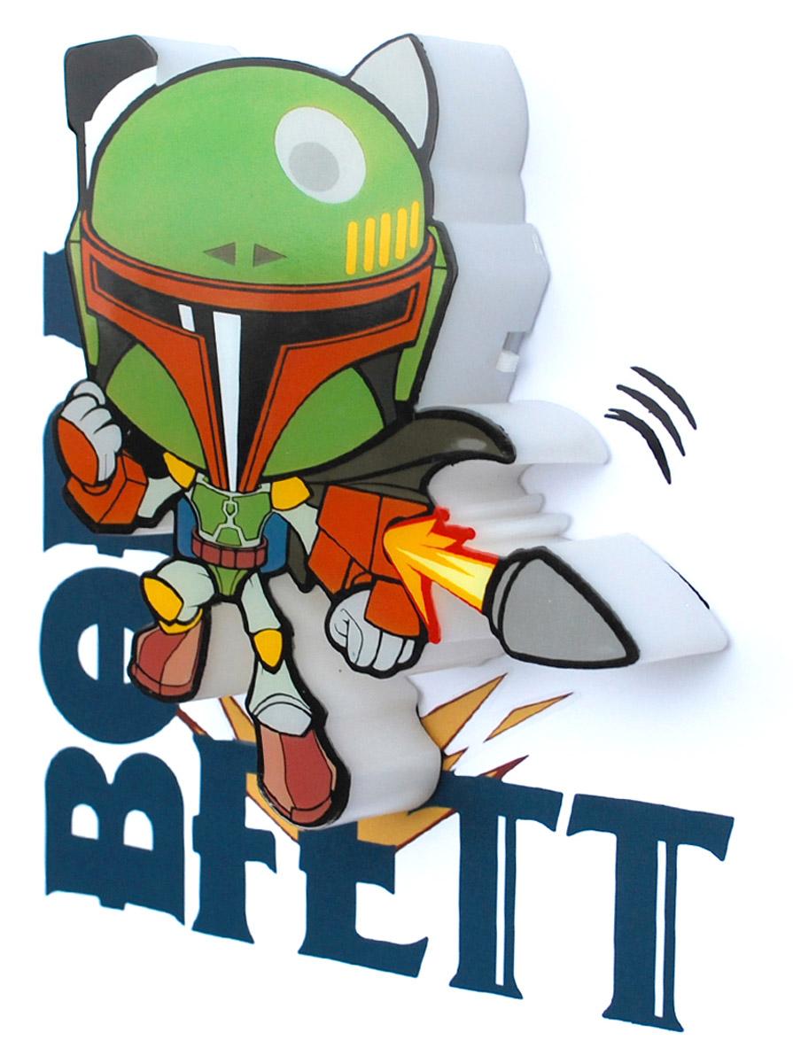 Star Wars Пробивной 3D мини-светильник Боба Фетт50010120Безопасный: без проводов, работает от батареек (2хААА, не входят в комплект); Не нагревается: всегда можно дотронуться до изделия; Реалистичный:3D наклейка в комплекте; Фантастический: выглядит превосходно в любое время суток; Удобный: простая установка (автоматическое выключение через полчаса непрерывной работы). Товар предназначен для детей старше 3 лет. ВНИМАНИЕ! Содержит мелкие детали, использовать под непосредственным наблюдением взрослых. Страна происхождения: Китай. Дизайн и разработка: Канада.