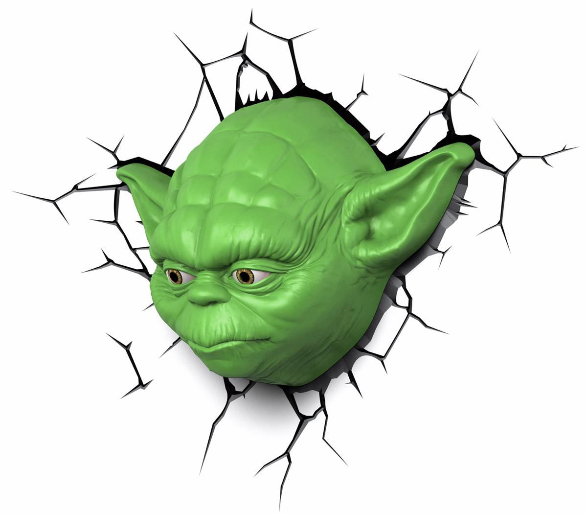 Star Wars Пробивной 3D светильник Йода50025Безопасный: без проводов, работает от батареек (3хАА, не входят в комплект); Не нагревается: всегда можно дотронуться до изделия; Реалистичный:3D наклейка-имитация трещины в комплекте; Фантастический: выглядит превосходно в любое время суток; Удобный: простая установка (автоматическое выключение через полчаса непрерывной работы). Товар предназначен для детей старше 3 лет. ВНИМАНИЕ! Содержит мелкие детали, использовать под непосредственным наблюдением взрослых. Страна происхождения: Китай. Дизайн и разработка: Канада.