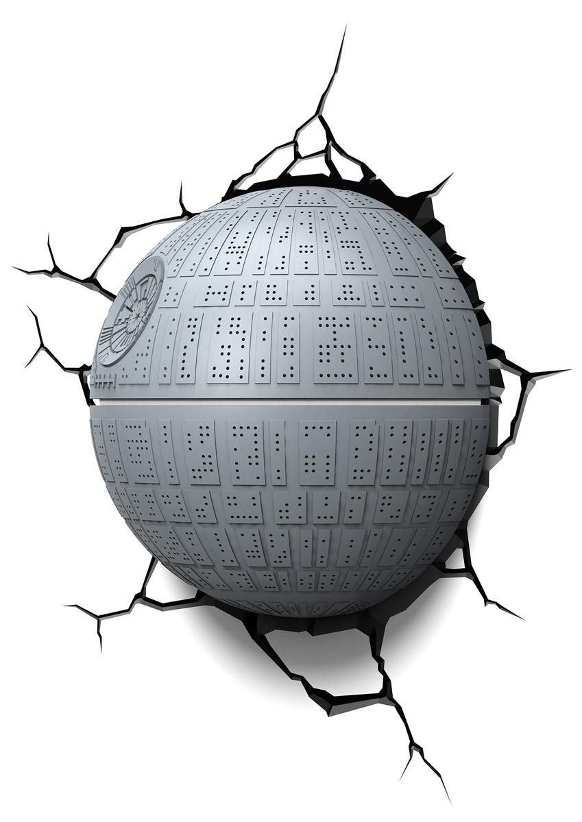 Star Wars Пробивной 3D светильник Звезда смерти50033Безопасный: без проводов, работает от батареек (3хАА, не входят в комплект); Не нагревается: всегда можно дотронуться до изделия; Реалистичный:3D наклейка-имитация трещины в комплекте; Фантастический: выглядит превосходно в любое время суток; Удобный: простая установка (автоматическое выключение через полчаса непрерывной работы). Товар предназначен для детей старше 3 лет. ВНИМАНИЕ! Содержит мелкие детали, использовать под непосредственным наблюдением взрослых. Страна происхождения: Китай. Дизайн и разработка: Канада.