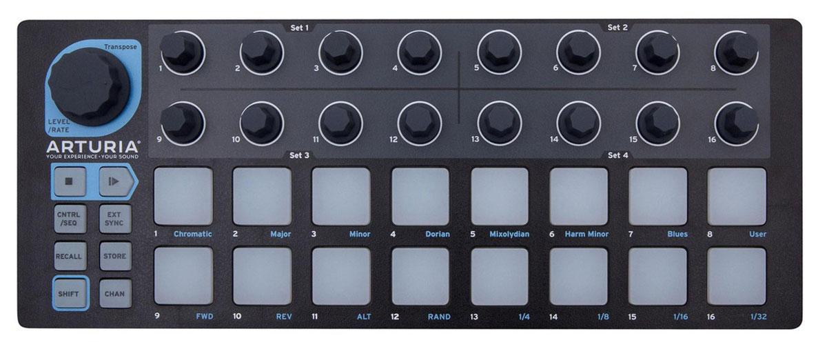 Arturia BeatStep Black Edition, Black USB MIDI-контроллерBeatStep Black EditionArturia BeatStep - портативная MIDI-клавиатура с высоким качеством сборки и лучшим соотношением цены/качества в своем классе. Девайс не обязательно подключать к компьютеру, потому что он отлично работает с планшетом iPad от Apple. Так что с этим компактным устройством можно заниматься творчеством без преувеличения где угодно и без установки драйверов. Контроллер также можно использовать в качестве MIDI-контроллера с барабанным модулем или аналоговым синтезатором. Но в этом случае ему потребуется внешний блок питания с силой тока не менее 500 мА. 16 падов BeatStep чувствительны к скорости и силе нажатия, что позволяет записать любые нюансы вашей работы. BeatStep является идеальным контроллером для создания ударных с помощью iPad, либо других программных инструментов: BFD, Kontakt, Lives Drum Rack, EZ Drummer, Addictive Drums, Geist или Reason Kong. Работайте с аналоговым и программным оборудованием BeatStep выходит за рамки типичных функций...