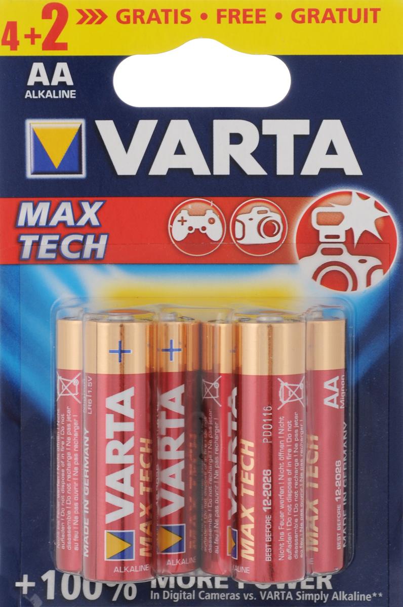 Батарейка Varta Max Tech, тип AA, 1,5В, 6 шт39726Алкалиновые батарейки Varta Max Tech отличаются долгим сроком работы, подходят для аудио- видео- техники, а также другой электроники и бытовых приборов. Не разбирать, не перезаряжать, не подносить к открытому огню. Не замыкать контакты. При установке соблюдать полярность (+/-). Хранить в недоступном для детей месте. Размер батарейки: 5 х 1,4 см. Тип элемента питания: щелочная.