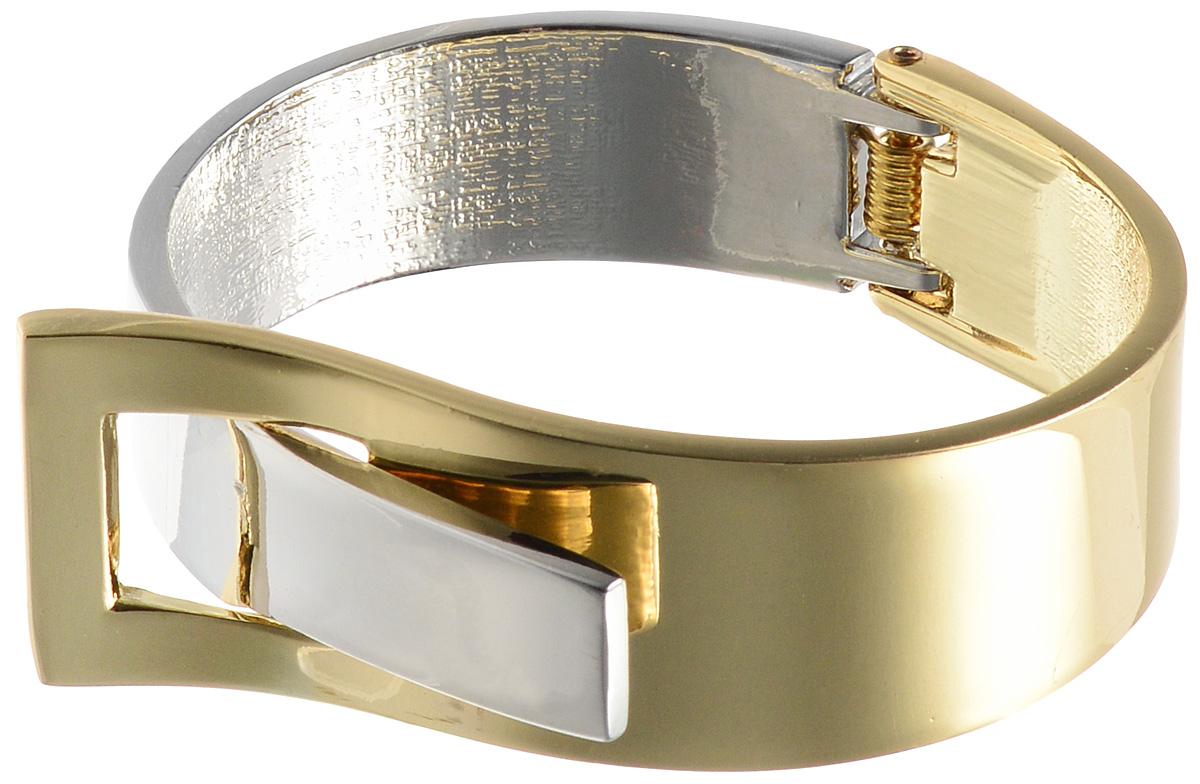 Браслет Taya, цвет: золотистый, серебристый. T-B-10833T-B-10833-BRAC-GL.SILVERБраслет современного дизайна Taya выполнен из металлического сплава. Браслет дополнен декоративным элементом в виде пряжки. Оригинальный браслет придаст вашему образу изюминку, подчеркнет красоту и изящество вечернего платья или преобразит повседневный наряд.