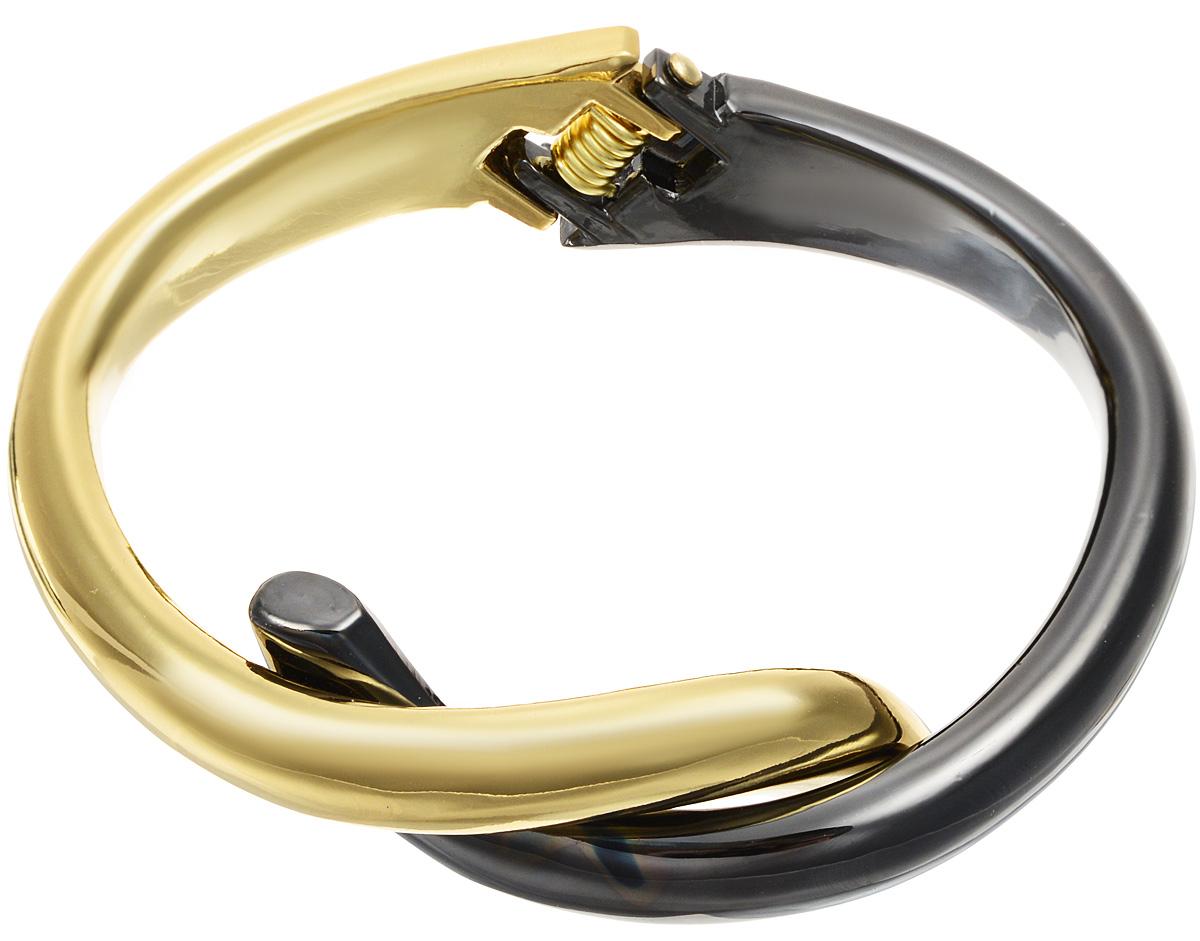 Браслет Taya, цвет: золотистый, темно-серый. T-B-10838T-B-10838-BRAC-GL.HEMATITEБраслет современного дизайна Taya изготовлен из металлического сплава. Изделие выполнено в двух идеально сочетающихся цветах. Оригинальный браслет придаст вашему образу изюминку, подчеркнет красоту и изящество вечернего платья или преобразит повседневный наряд.
