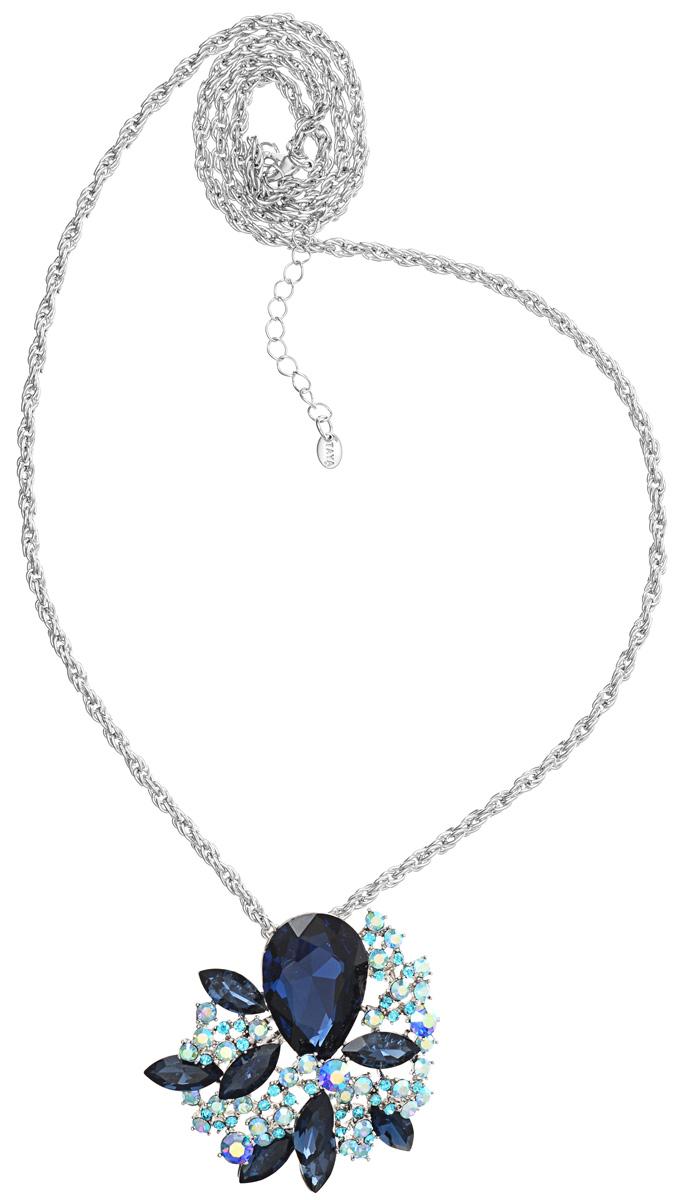 Кулон-брошь Taya, цвет: серебристый, синий, голубой. T-B-10927T-B-10927-NECK-SL.NAVYКулон-брошь Taya выполнен из металлического сплава и дополнен цепочкой с оригинальным плетением. Кулон инкрустирован крупным кристаллом каплевидной формы и сияющими стразами. Кулон оснащен петлей для подвешивания и застежкой-булавкой, что делает этот аксессуар универсальным. Цепочка застегивается на замок-карабин. Длина цепочки регулируется за счет дополнительных звеньев. Кулон-брошь Taya поможет дополнить любой образ и привнести в него завершающий штрих.