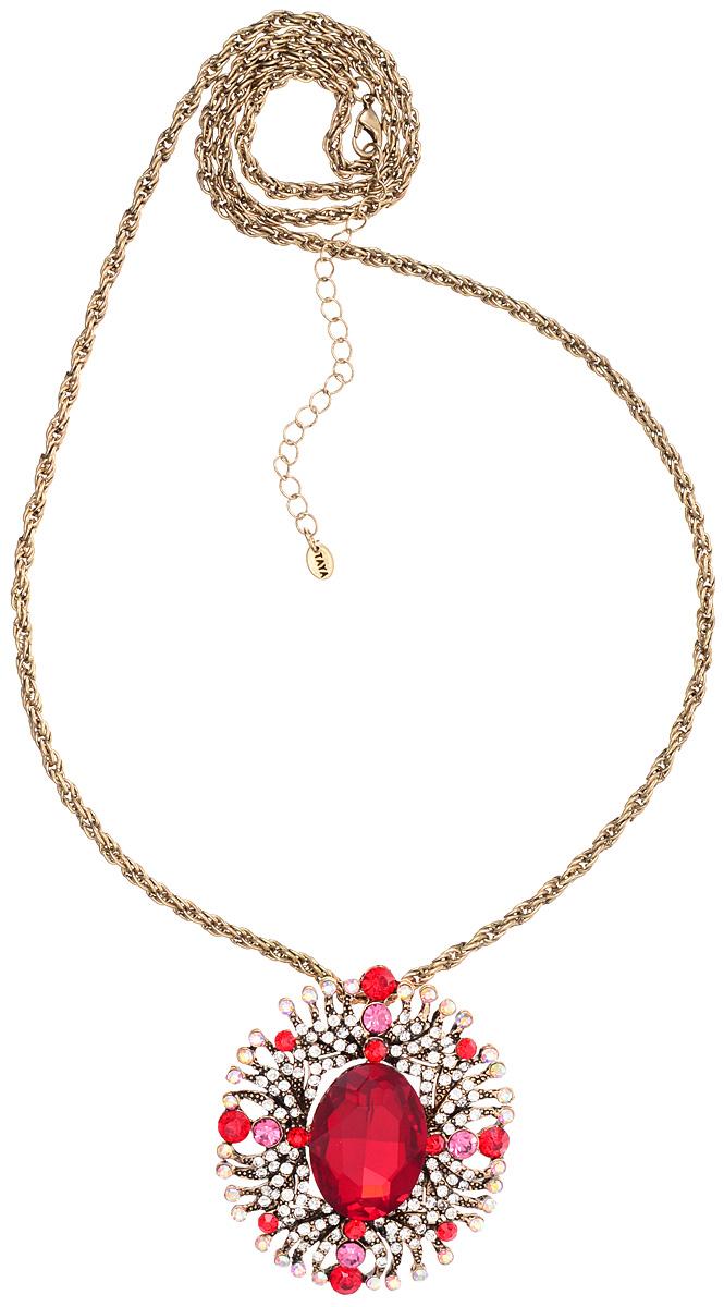 Кулон-брошь Taya, цвет: золотистый, красный, белый. T-B-10944T-B-10944-NECK-GL.REDКулон-брошь Taya выполнен из металлического сплава и дополнен цепочкой с оригинальным плетением. Кулон инкрустирован крупным кристаллом и сияющими стразами. Кулон оснащен петлей для подвешивания и застежкой-булавкой, что делает этот аксессуар универсальным. Цепочка застегивается на замок-карабин. Длина цепочки регулируется за счет дополнительных звеньев. Кулон-брошь Taya поможет дополнить любой образ и привнести в него завершающий штрих.
