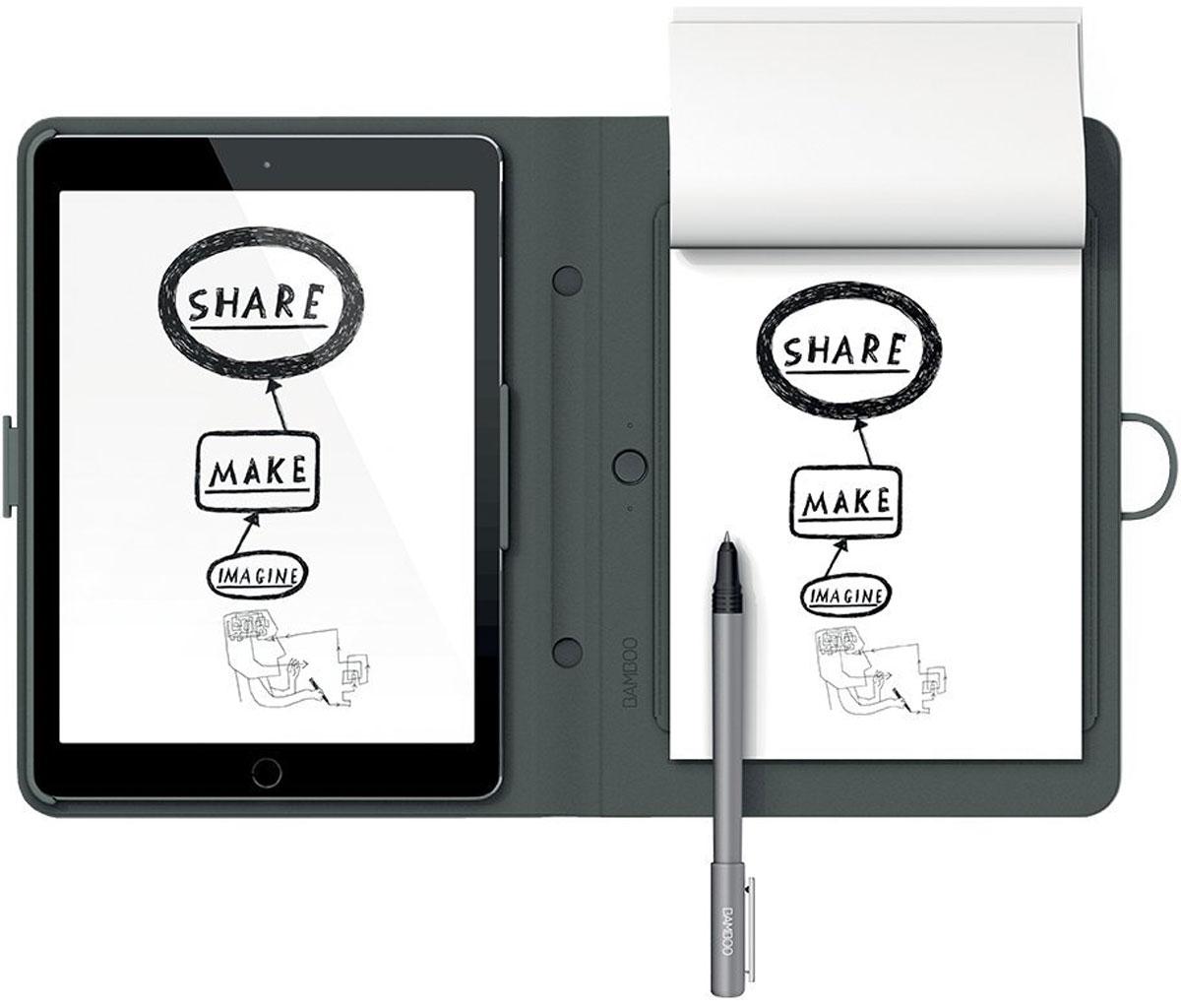 Wacom Bamboo Spark цифровой блокнот с карманом для iPad Air 2 (CDS-600C)4949268619608Bamboo Spark – устройство, которое позволяет придумывать новые идеи и писать заметки на любом типе бумаги, автоматически оцифровывая написанное в реальном времени в специальном приложении для Android и iOS. Конвертация рукописного текста в цифровой предоставляет пользователям Bamboo Spark новый уникальный функционал: теперь они могут получать изящный каллиграфический текст в цифровом формате на основе рукописных заметок, сделанных с помощью специальной ручки-стилуса в умном блокноте, и хранить заметки в упорядоченном виде, чтобы отредактировать их позже или поделиться с другими. Создание стандартных текстовых файлов на основе рукописных заметок в Bamboo Spark осуществляется с помощью простого инструмента экспорт в текстовый формат, который встроен в приложение. Созданные заметки можно перевести в формат *.pdf или *.jpg. Кроме того, с помощью технологии WILL (Wacom's Ink Layer Language), в цифровой текст могут быть преобразованы и созданные ранее файлы,...