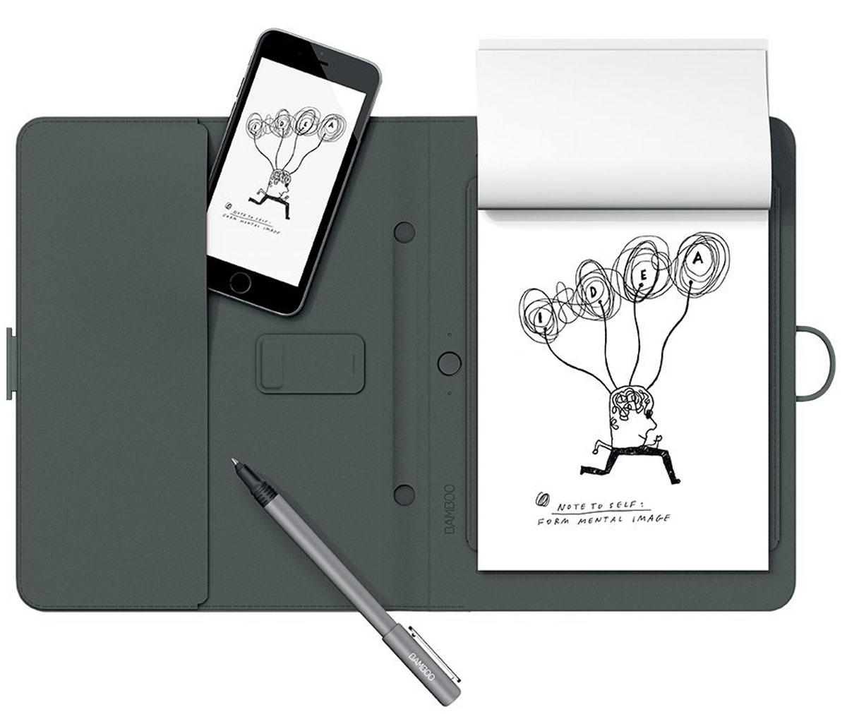Wacom Bamboo Spark цифровой блокнот с карманом для гаджетов (CDS-600G)4949268619615Bamboo Spark - устройство, которое позволяет придумывать новые идеи и писать заметки на любом типе бумаги, автоматически оцифровывая написанное в реальном времени в специальном приложении для Android и iOS. Конвертация рукописного текста в цифровой предоставляет пользователям Bamboo Spark новый уникальный функционал: теперь они могут получать изящный каллиграфический текст в цифровом формате на основе рукописных заметок, сделанных с помощью специальной ручки-стилуса в умном блокноте, и хранить заметки в упорядоченном виде, чтобы отредактировать их позже или поделиться с другими. Создание стандартных текстовых файлов на основе рукописных заметок в Bamboo Spark осуществляется с помощью простого инструмента экспорт в текстовый формат, который встроен в приложение. Созданные заметки можно перевести в формат *.pdf или *.jpg. Кроме того, с помощью технологии WILL (Wacoms Ink Layer Language), в цифровой текст могут быть преобразованы и созданные ранее файлы,...