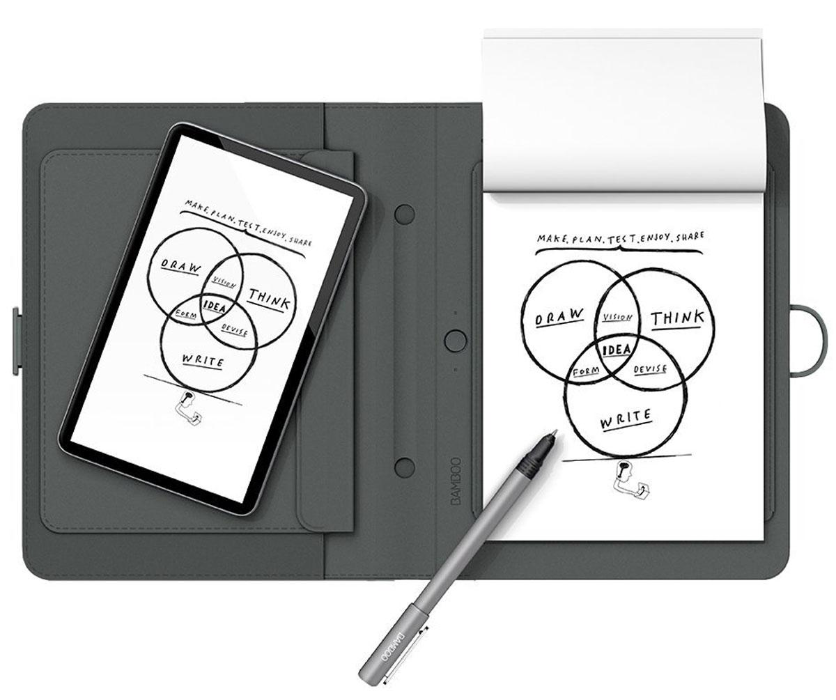 Wacom Bamboo Spark цифровой блокнот с карманом для планшетов (CDS-600P)4949268619622Bamboo Spark - устройство, которое позволяет придумывать новые идеи и писать заметки на любом типе бумаги, автоматически оцифровывая написанное в реальном времени в специальном приложении для Android и iOS. Конвертация рукописного текста в цифровой предоставляет пользователям Bamboo Spark новый уникальный функционал: теперь они могут получать изящный каллиграфический текст в цифровом формате на основе рукописных заметок, сделанных с помощью специальной ручки-стилуса в умном блокноте, и хранить заметки в упорядоченном виде, чтобы отредактировать их позже или поделиться с другими. Создание стандартных текстовых файлов на основе рукописных заметок в Bamboo Spark осуществляется с помощью простого инструмента экспорт в текстовый формат, который встроен в приложение. Созданные заметки можно перевести в формат *.pdf или *.jpg. Кроме того, с помощью технологии WILL (Wacoms Ink Layer Language), в цифровой текст могут быть преобразованы и созданные ранее файлы,...