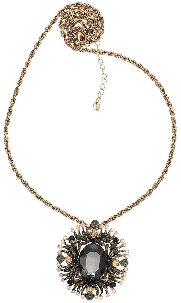 Кулон-брошь Taya, цвет: золотистый, мультицвет. T-B-10947T-B-10947-NECK-GL.HEMATITEКулон-брошь Taya выполнен из металлического сплава и дополнен цепочкой с оригинальным плетением. Кулон инкрустирован крупным кристаллом и сияющими стразами. Кулон оснащен петлей для подвешивания и застежкой-булавкой, что делает этот аксессуар универсальным. Цепочка застегивается на замок-карабин. Длина цепочки регулируется за счет дополнительных звеньев. Кулон-брошь Taya поможет дополнить любой образ и привнести в него завершающий штрих.
