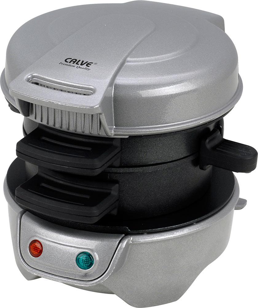 Calve CL-5001 бургер-мастерCL-5001Calve CL-5001 - это бутербродница, с помощью которой вы быстро приготовите сочный поджаренный сэндвич. Обеспечивает равномерное поджаривание блюда с обеих сторон без переворачивания. Все вынимающиеся части с антипригарным покрытием. Эта бутербродница состоит из двух отдельных секций со сдвижными перегородками. Таким образом, каждая часть бургера готовится индивидуально в своей секции. Время приготовления: 5 минут Как работает бургер-мастер: 1: Подключите прибор к сети. Подключенный прибор сразу начнет нагреваться. В это время выберите ингредиенты и подготовьте их для приготовления. 2: Положите в нижний отсек прибора желаемые ингредиенты, например, разрезанную пополам булочку, сыр, колбасу, а в верхний отсек вылейте одно свежее яйцо 3: Закройте крышку, и через 5 минут ваш бургер, включая яйцо, будет полностью запечен 4: Выдвиньте пластинку, на которой готовится яйцо, откройте крышку и извлеките ваш аппетитный завтрак - горячий...