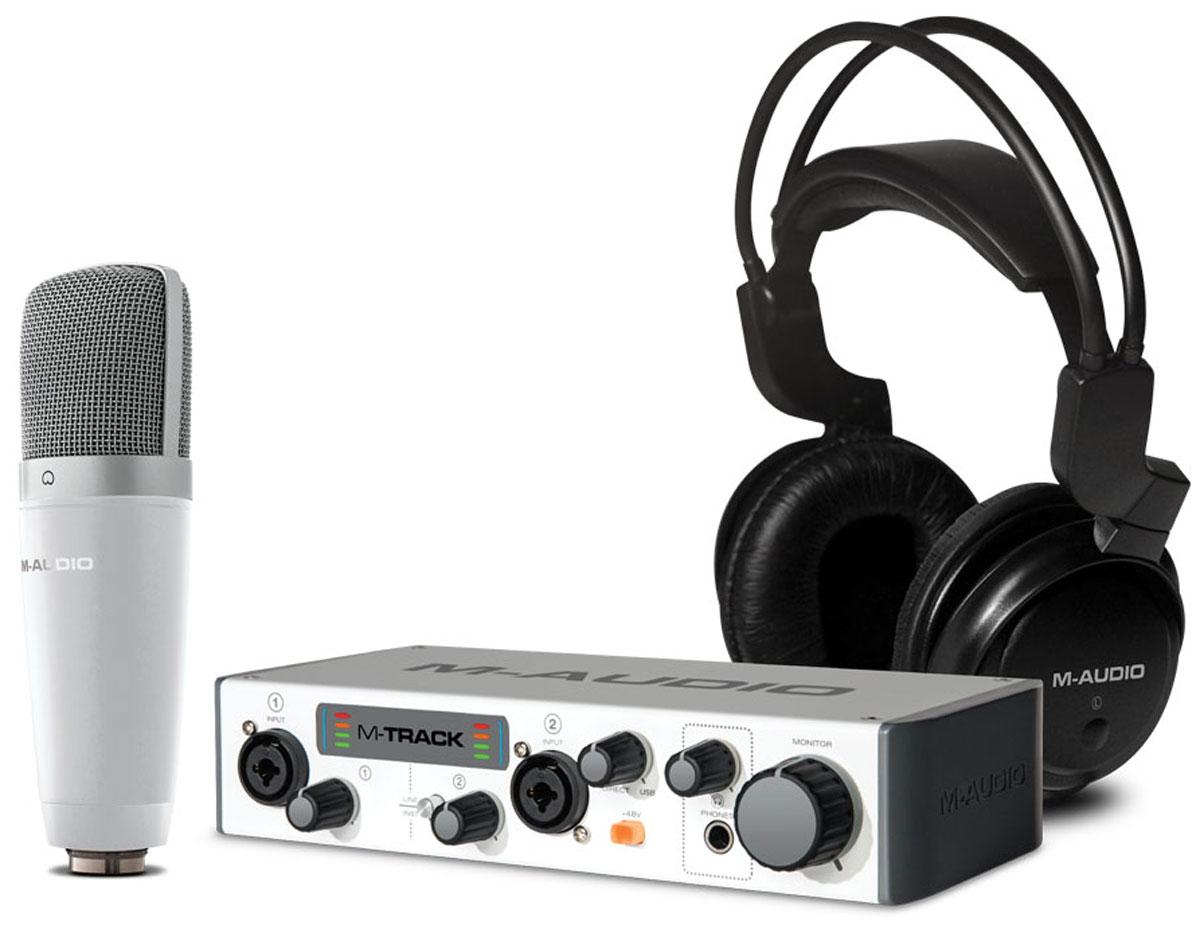 M-Audio Vocal Studio Pro II, White комплект для подкастингаVOCALSTUDIOPROIIКомплект M-Audio Vocal Studio Pro II, предназначен для записи музыки и вокала. Этот набор состоит из двухканального USB-интерфейса M-Track II, конденсаторного микрофона с большой мембраной и отсоединяемым XLR-кабелем, а также полноразмерных студийных наушников. Помимо этого, в комплект поставки входит программное обеспечение Ableton Live Lite и набор плагинов Waves. Наложить вокал на готовую мелодию, создать подкаст, добавить голос за кадром для мультимедиа - Vocal Studio Pro II может все! Уникальная комбинация высокоэффективного оборудования и легкого в использовании программного обеспечения дает массу возможностей для работы. Просто подключите микрофон в интерфейс, интерфейс подключите к компьютеру, оденьте наушники и все готово. Дополняют этот мощный комплект два взаимодополняющих ПО: Ableton Live Lite и набор плагинов Waves. Вместе они предоставляют всеобъемлющий способ преобразования, сидящих в голове идей в музыкальное произведение, с которым...