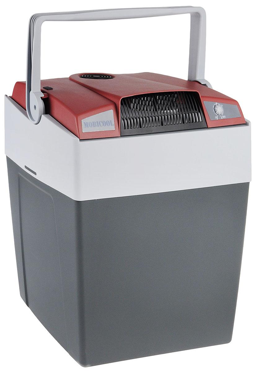 MOBICOOL G30, Marsala Grey термоэлектрический холодильник9103500790_бордовый, серыйТермоэлектрический мобильный холодильник Mobicool G30 предназначен для сохранности продуктов питания и напитков в летний зной. Объем этого бытового прибора равен 29 литрам. Сумка холодильник охлаждает до 18°С ниже окружающей температуры. Высота сумки холодильника позволяет разместить бутылки объемом 2 литра. Этот холодильник можно использовать как в домашних условиях, так и в автомобиле благодаря наличию двух способов подключения (бортовая сеть автомобиля 12 В и сеть 220 В). Удобная ручка для переноски Уровень шума: 39 дБ Потребление энергии: до 48 Вт при 12 В