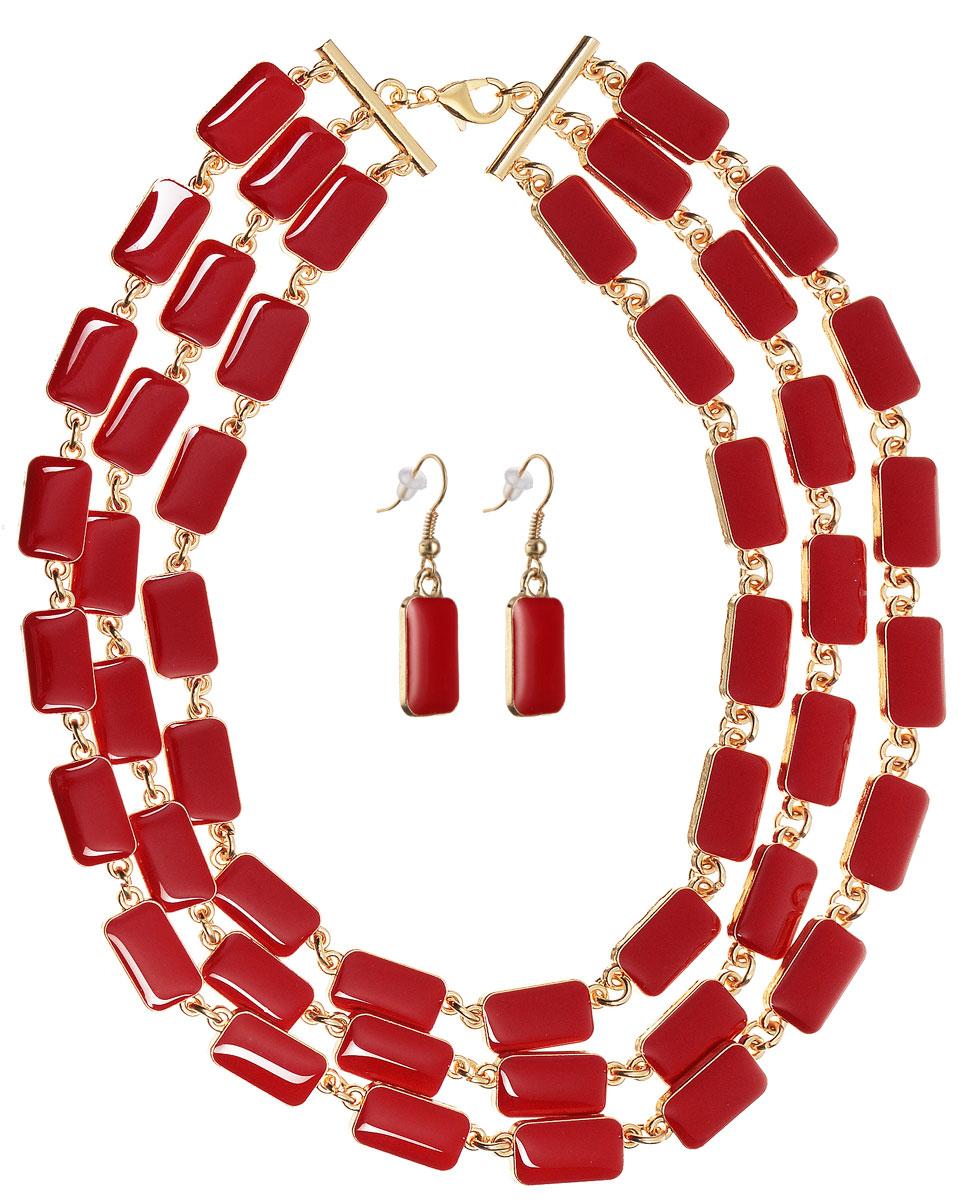 Комплект украшений Happy Charms Family: колье, серьги, цвет: золотой, красный. NOAH0027