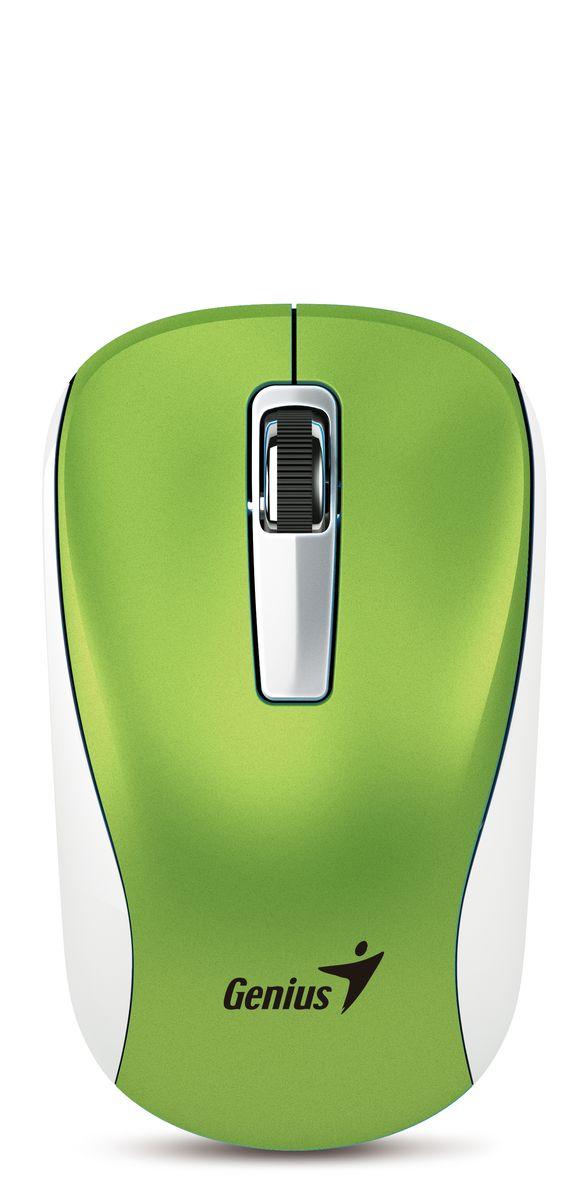 Genius NX-7010, Green мышь беспроводная31030114108Мышь Genius NX-7010 с технологией BlueEye для точного контроля над курсором практически на любых поверхностях. Питание мыши NX-7010 осуществляется от одной батарейки типоразмера AA, а для продления срока службы батарейки используется выключатель питания. Двунаправленная связь на частоте 2,4 ГГц с защитой от помех гарантирует надежную работу на расстоянии до 10 метров. Наслаждайтесь отзывчивостью курсора и быстрой прокруткой. Мышь NX-6500 отлично подойдет тем, кто любит путешествовать: она прекрасно сочетается с ультрабуками и другими компьютерами.