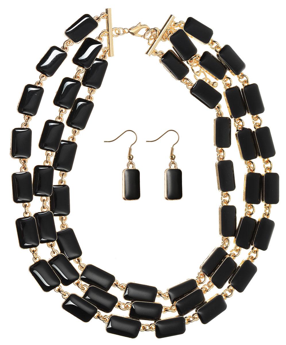 Комплект украшений Happy Charms Family: колье, серьги, цвет: золотой, черный. NOAH0028