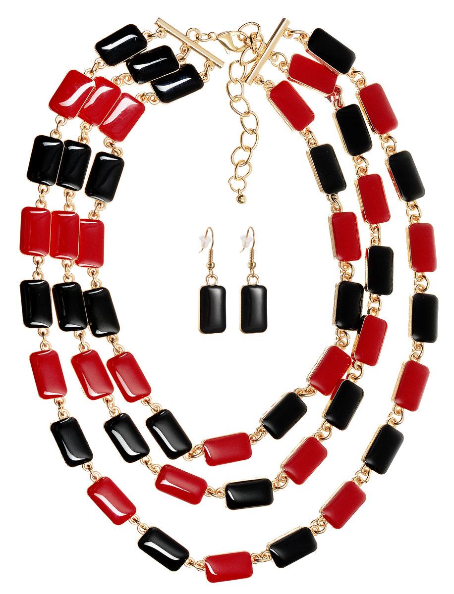 Комплект украшений Happy Charms Family: колье, серьги, цвет: золотой, красный, черный. NOAH0029